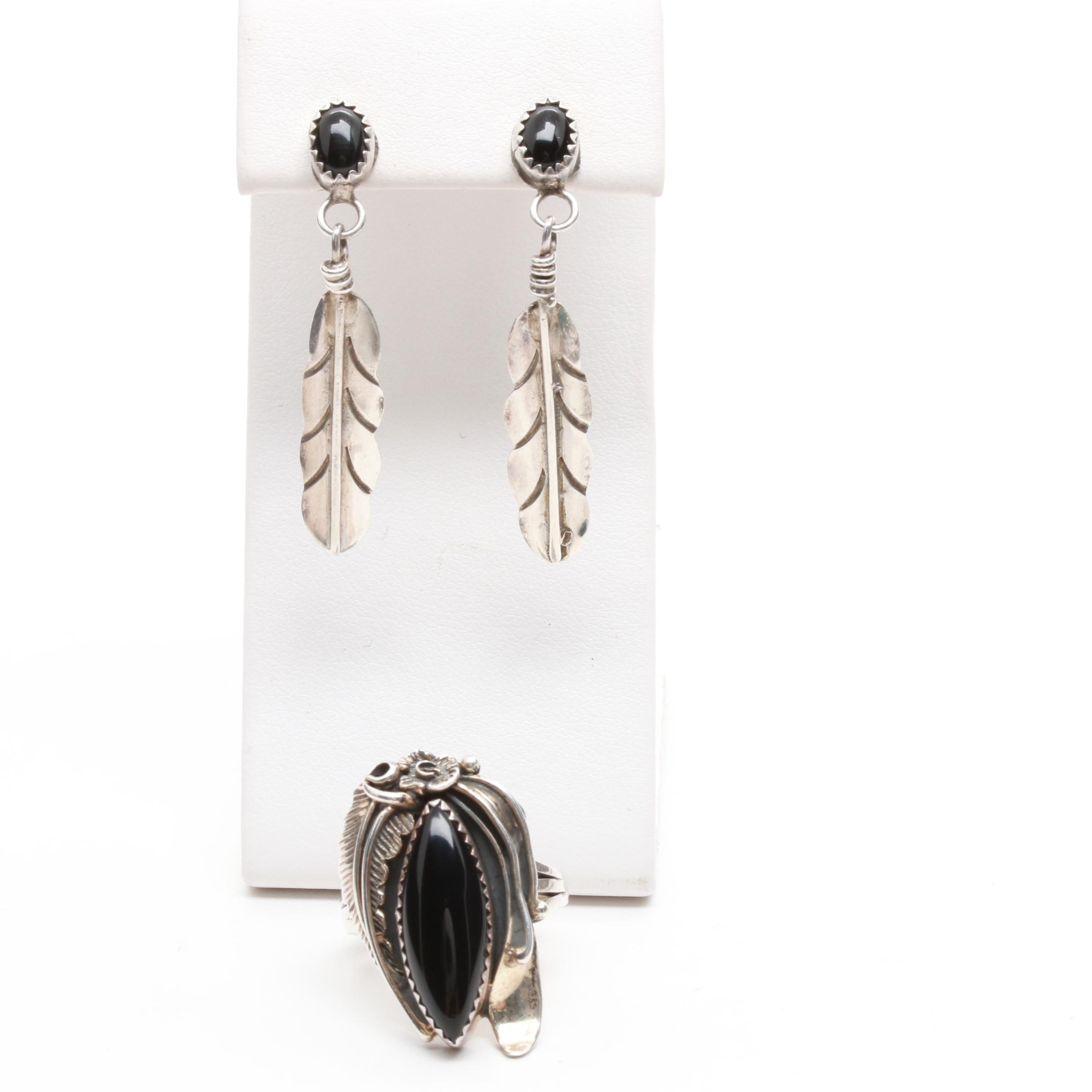 Southwestern Style Sterling Silver Black Onyx Ring and Feather Motif Earrings
