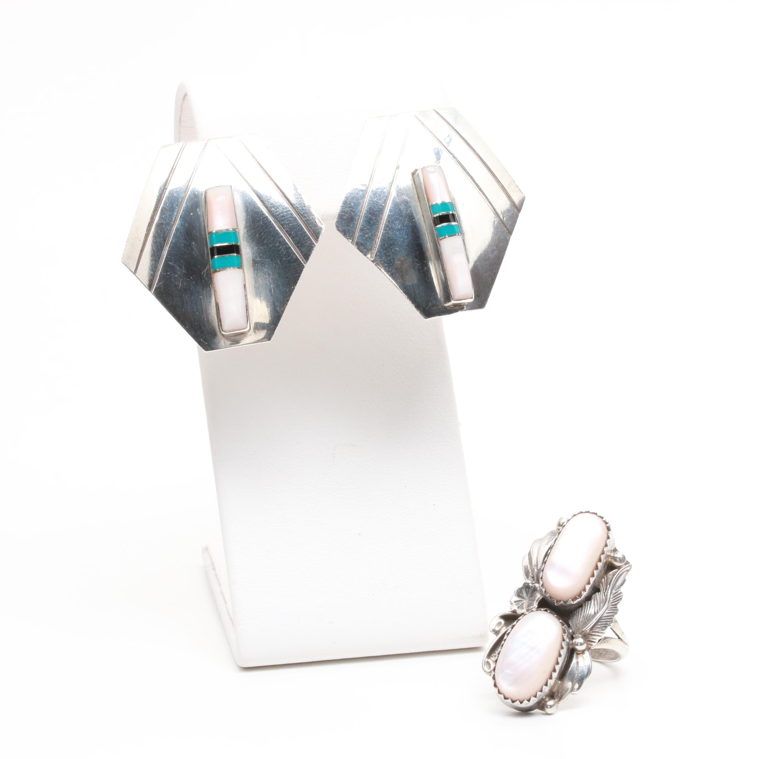Sterling Silver Mother of Pearl and Turquoise Ring and Earrings