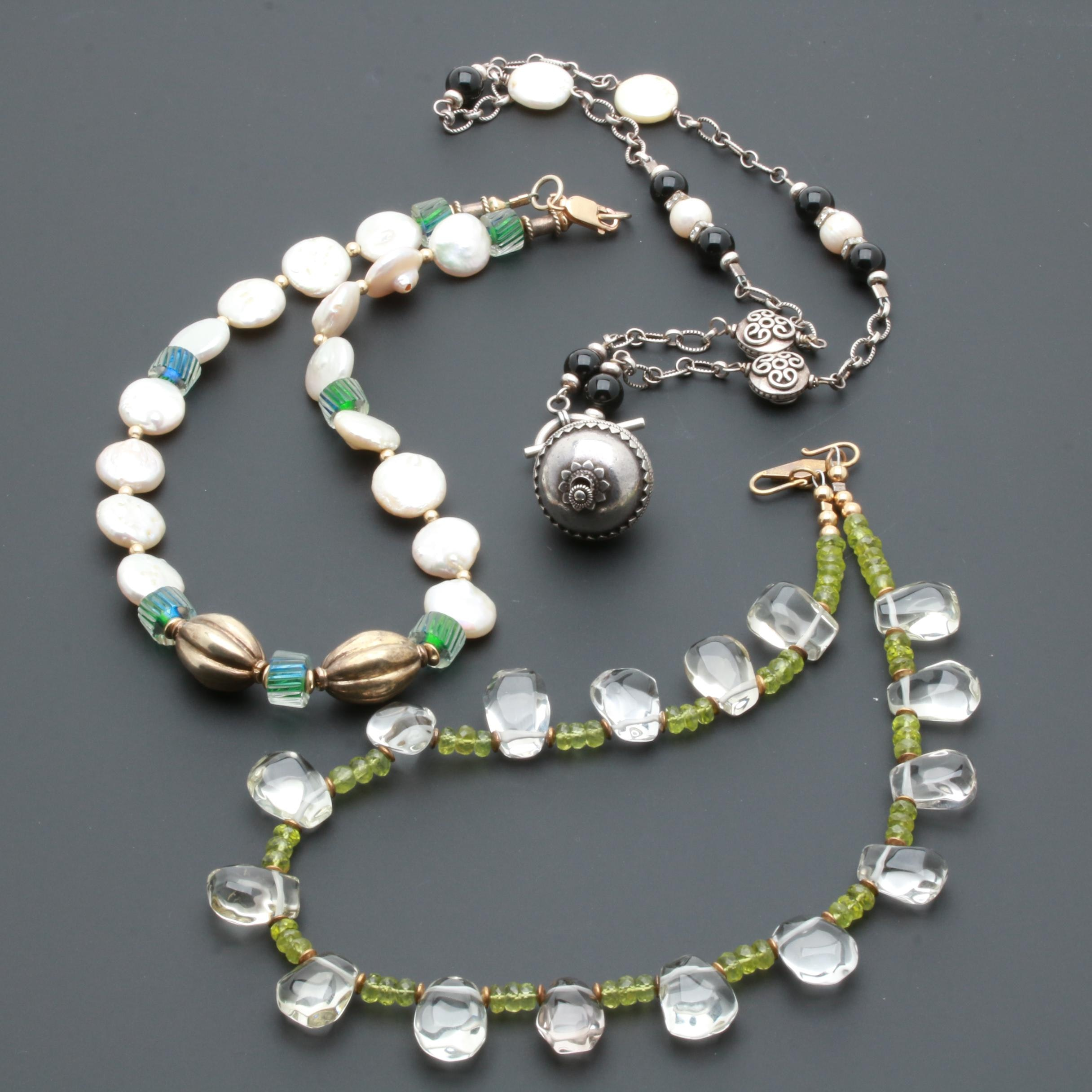 Sterling Silver Gemstone and Glass Necklaces Including Cultured Pearl