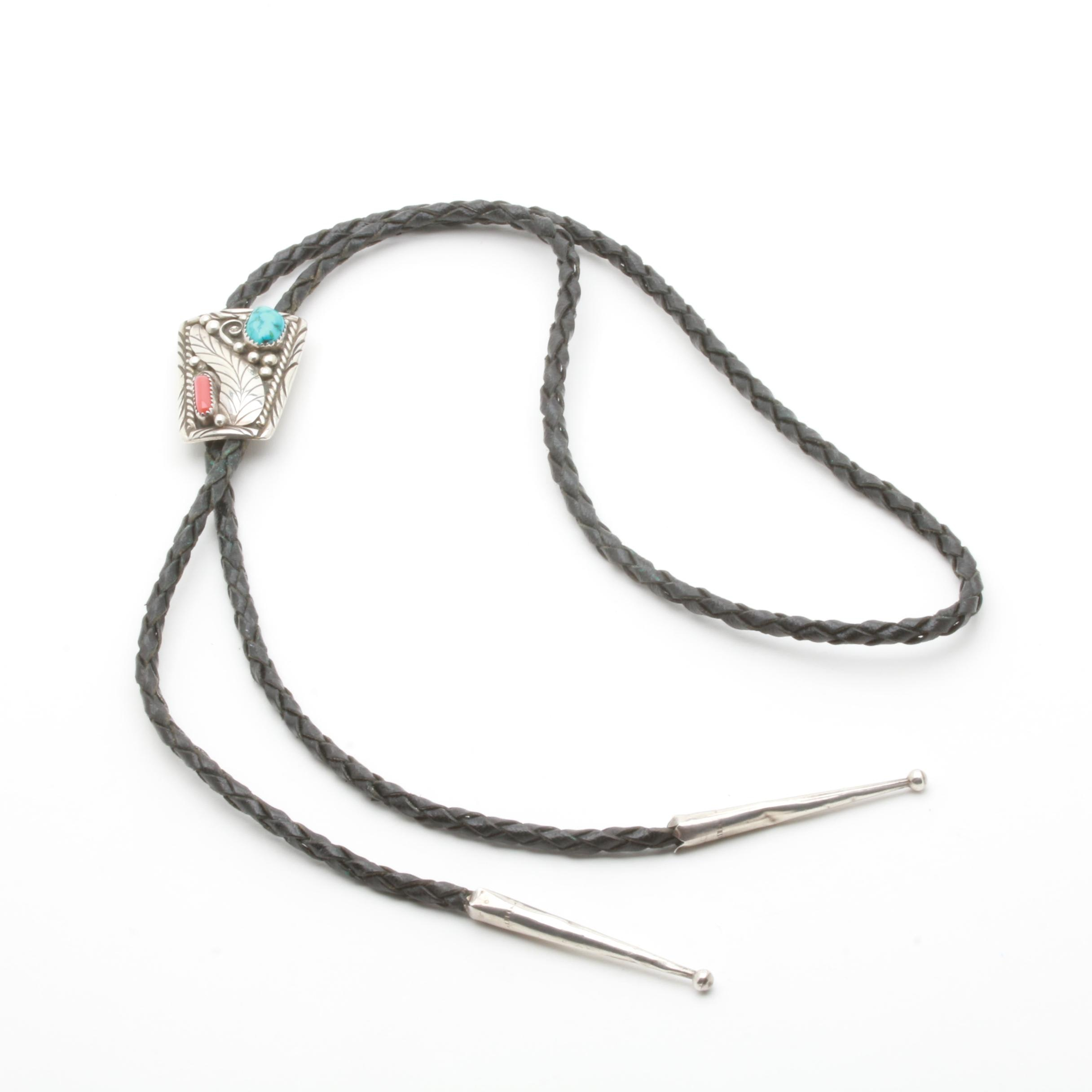 Southwestern Style Sterling Silver Turquoise and Coral Bolo Tie