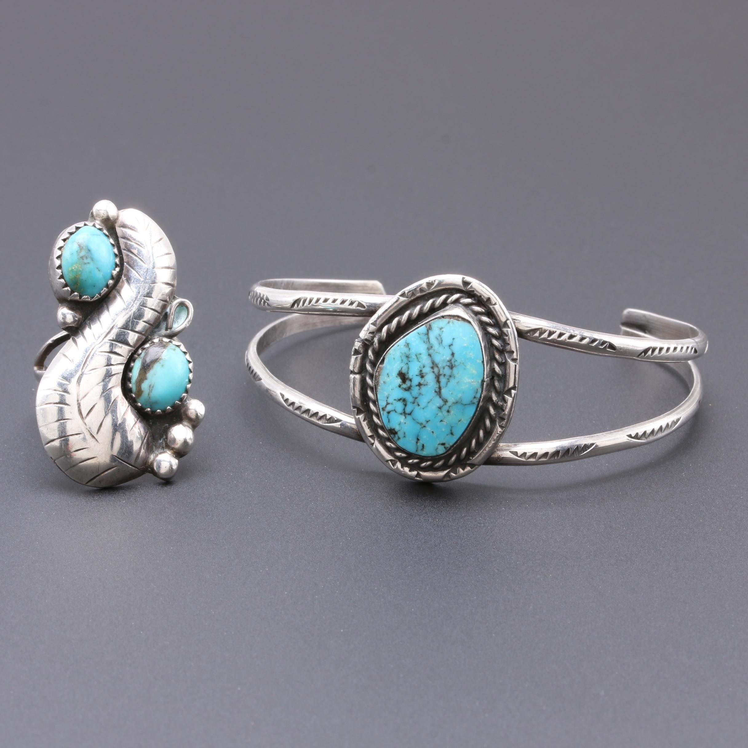 Southwestern Style Sterling Silver Turquoise Ring and Cuff Bracelet