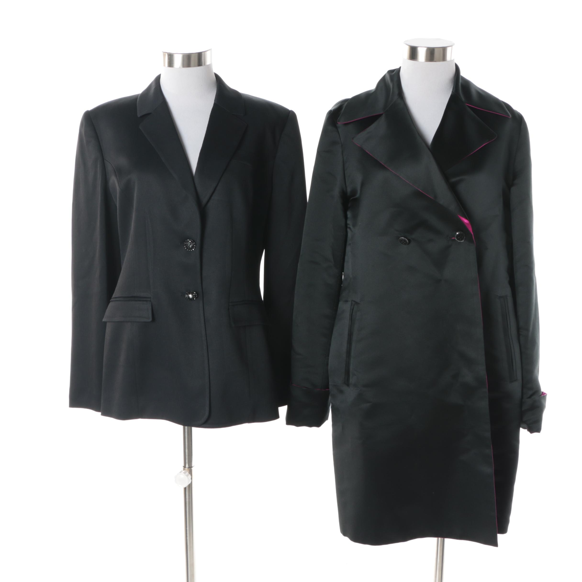 Women's St. John Evening Charcoal Satin Suit Jacket and Reversible Silk Jacket
