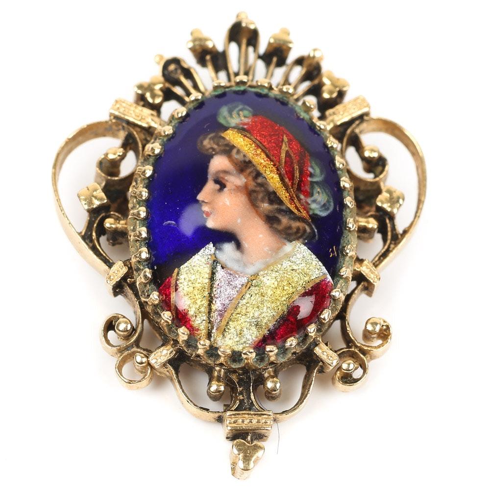14K Yellow Gold French Hand Painted Portrait Pendant Brooch
