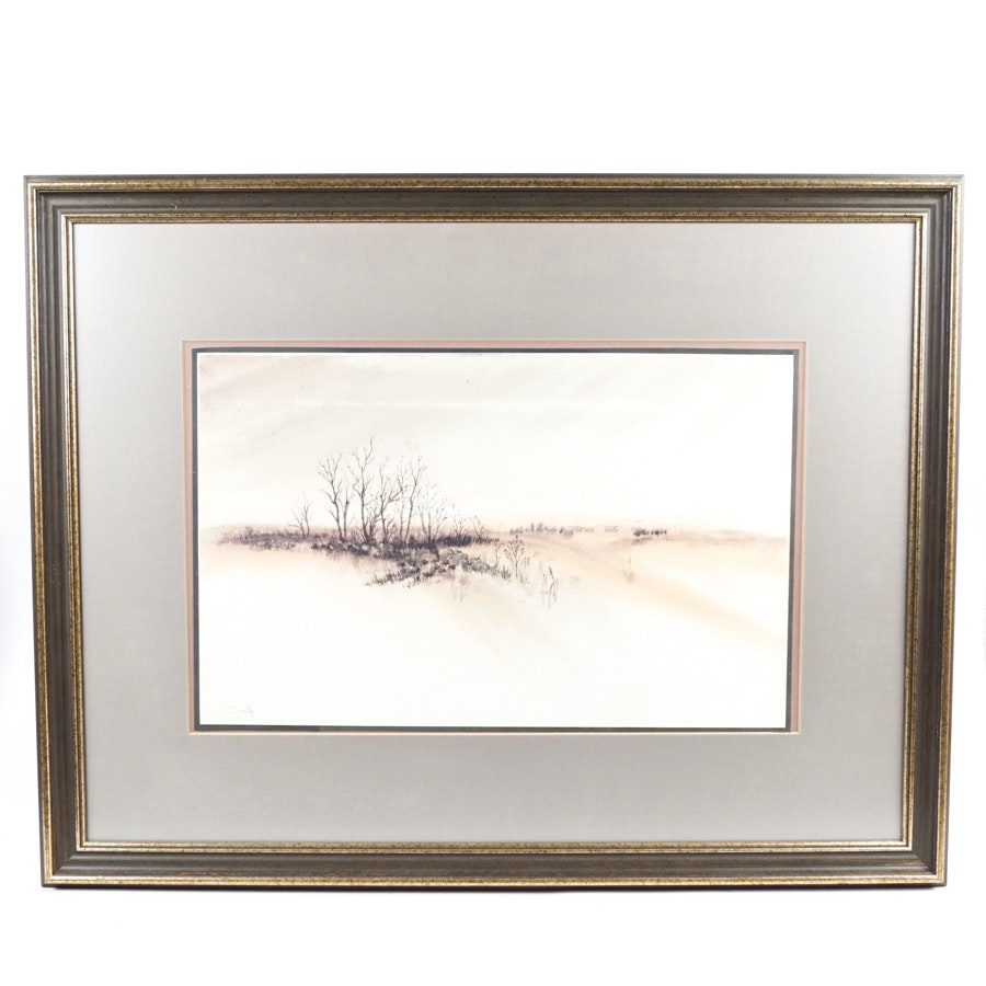 Robert Corty Watercolor on Paper of a Winter Landscape
