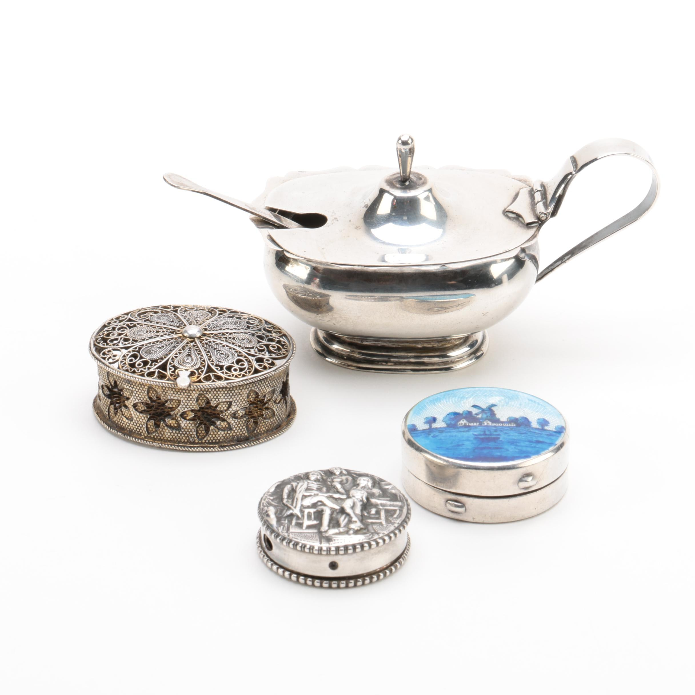 Silver Trinket Boxes and Mustard Pot