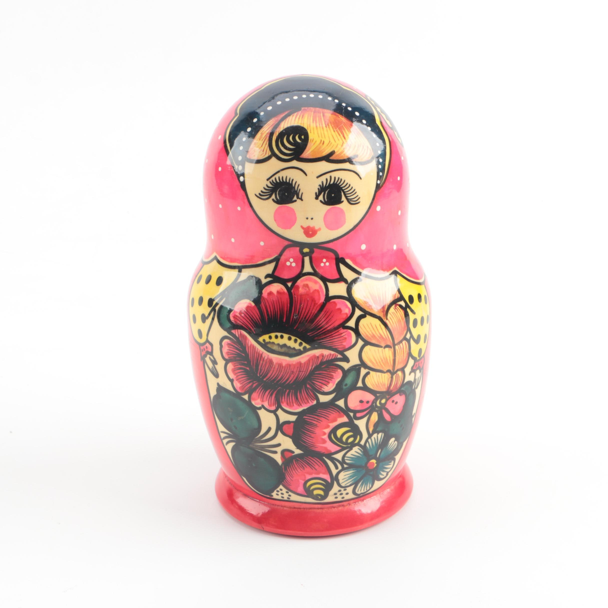 Hand-Painted Matryoshka Nesting Doll with Floral Motif