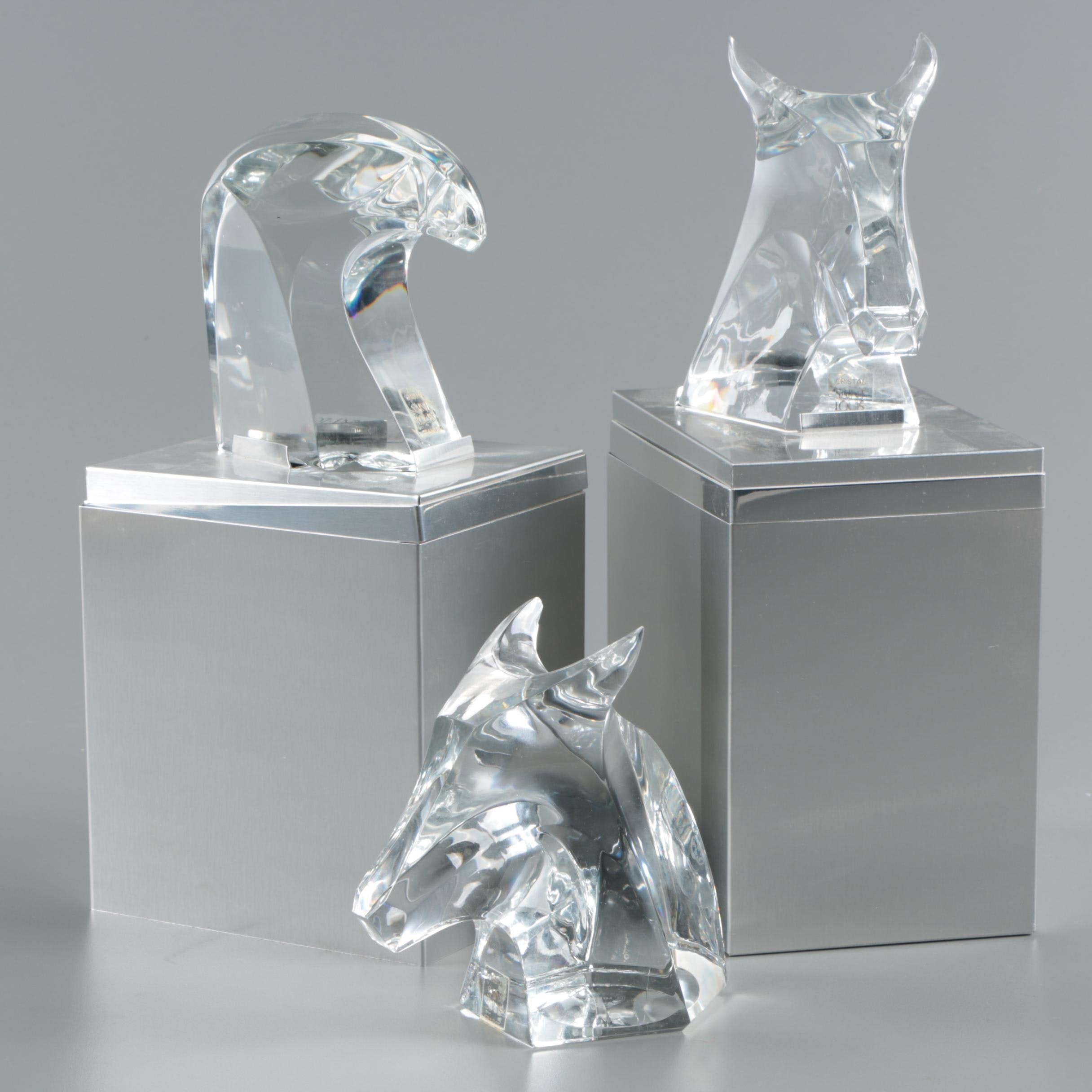 Saint-Louis Cristalleries French Cut Crystal Animal Head Figurines
