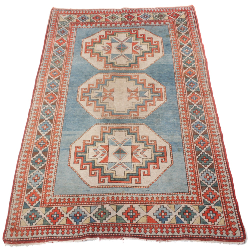 Semi-Antique Hand-Knotted Turkish Kazak Area Rug