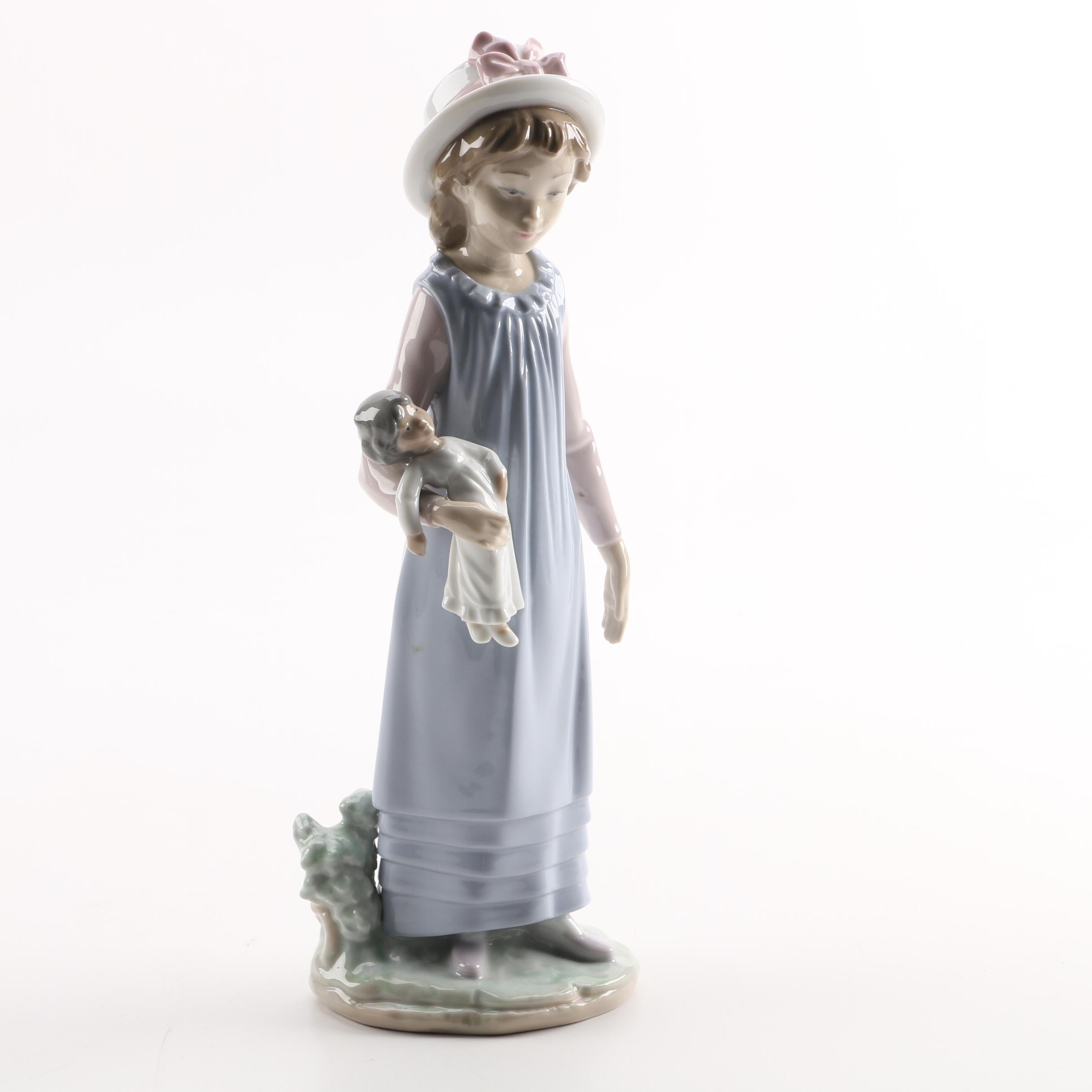 "Lladro ""Girl with Doll"" Porcelain Figurine"