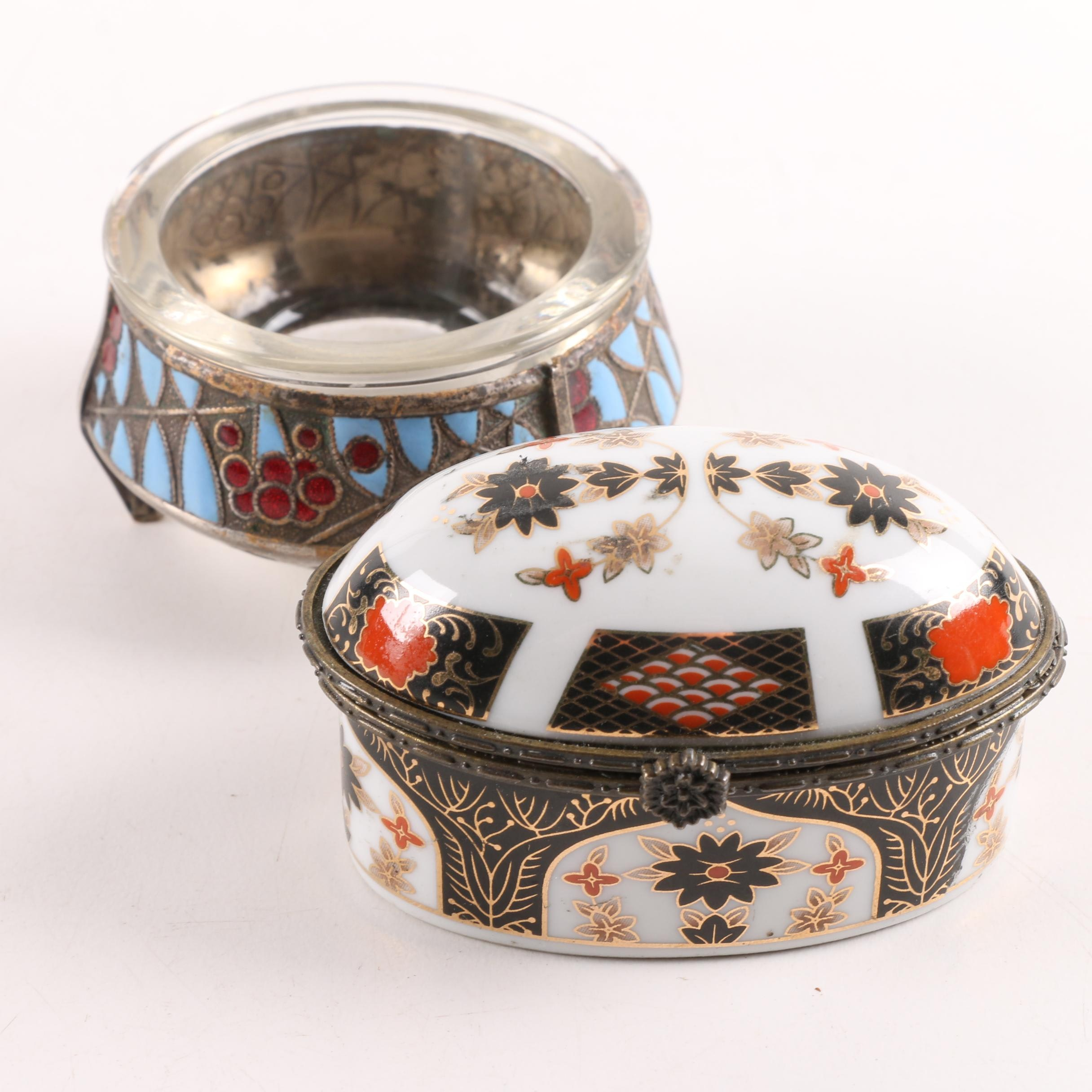 Hommet Russian Silver Plate and Enameled Salt Cellar with Ceramic Trinket Box