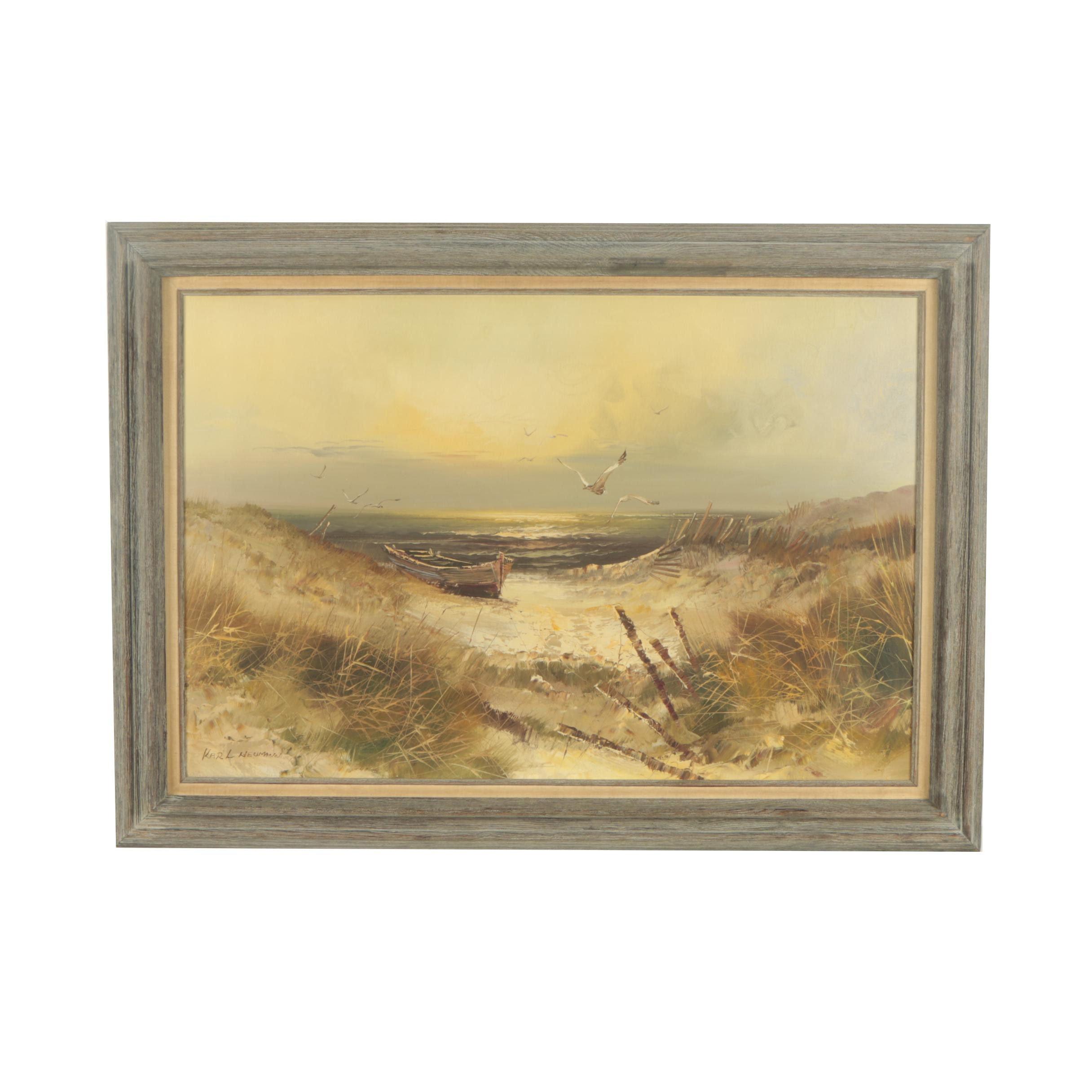 Karl Neumann Beach Landscape Oil Painting