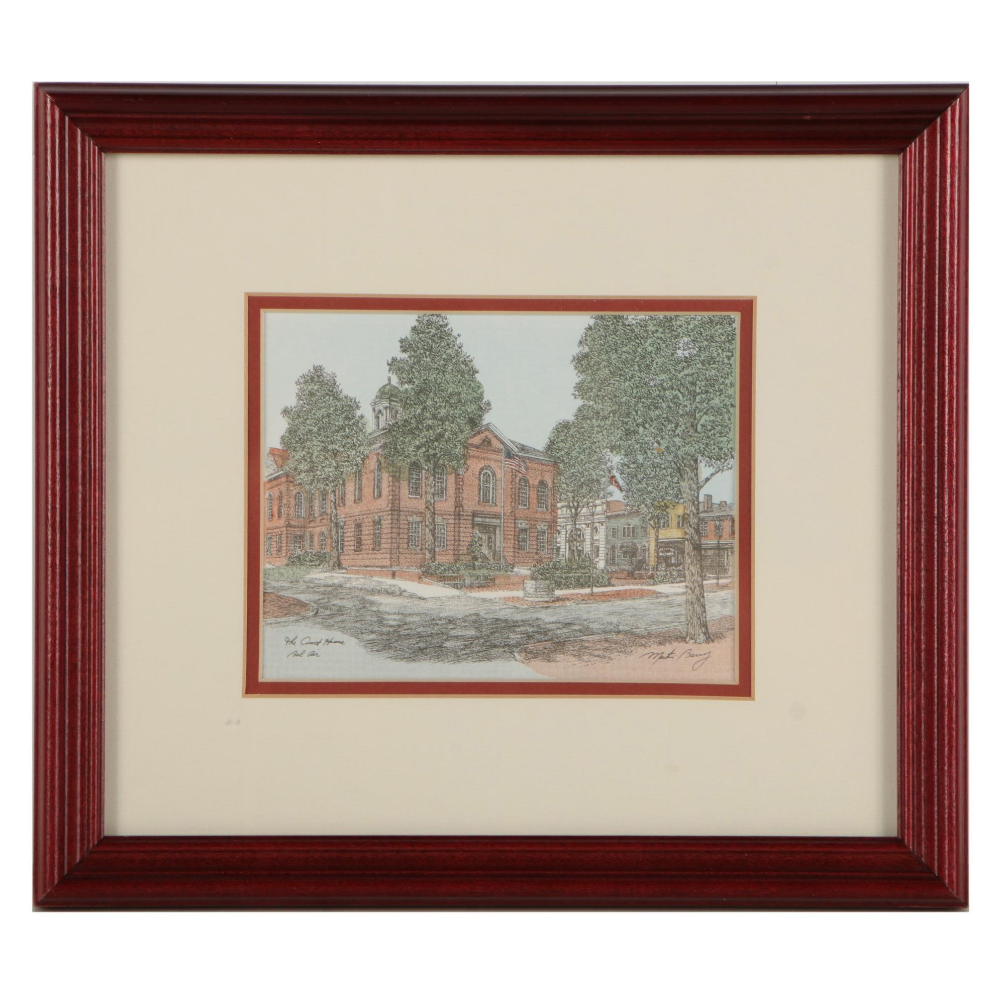"""Martin Barry Hand Colored Lithograph """"The Court House - Bel Air"""""""