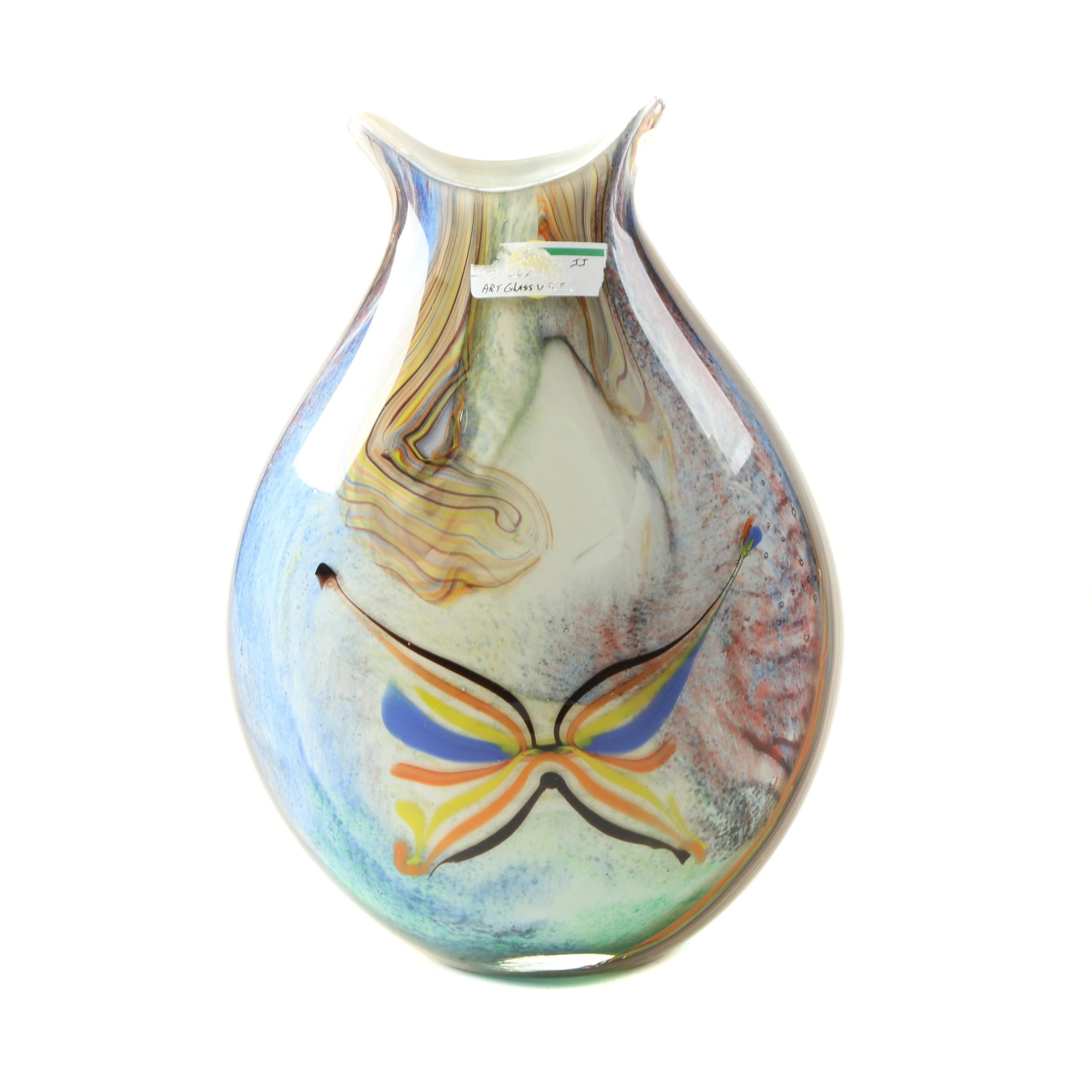 Murano Style Combed Art Glass Vase with Butterfly Motif