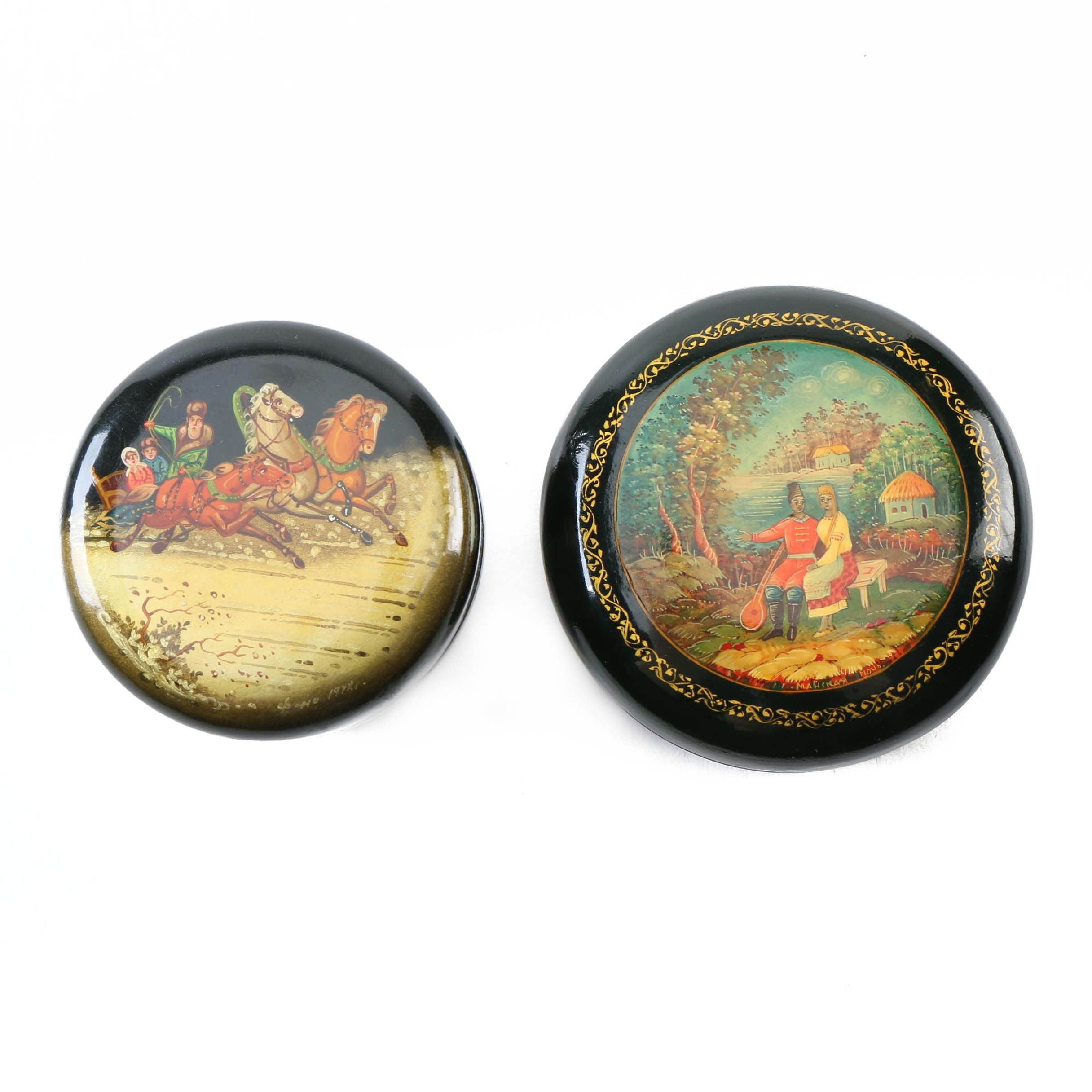 Russian  Lacquered Trinket Boxes