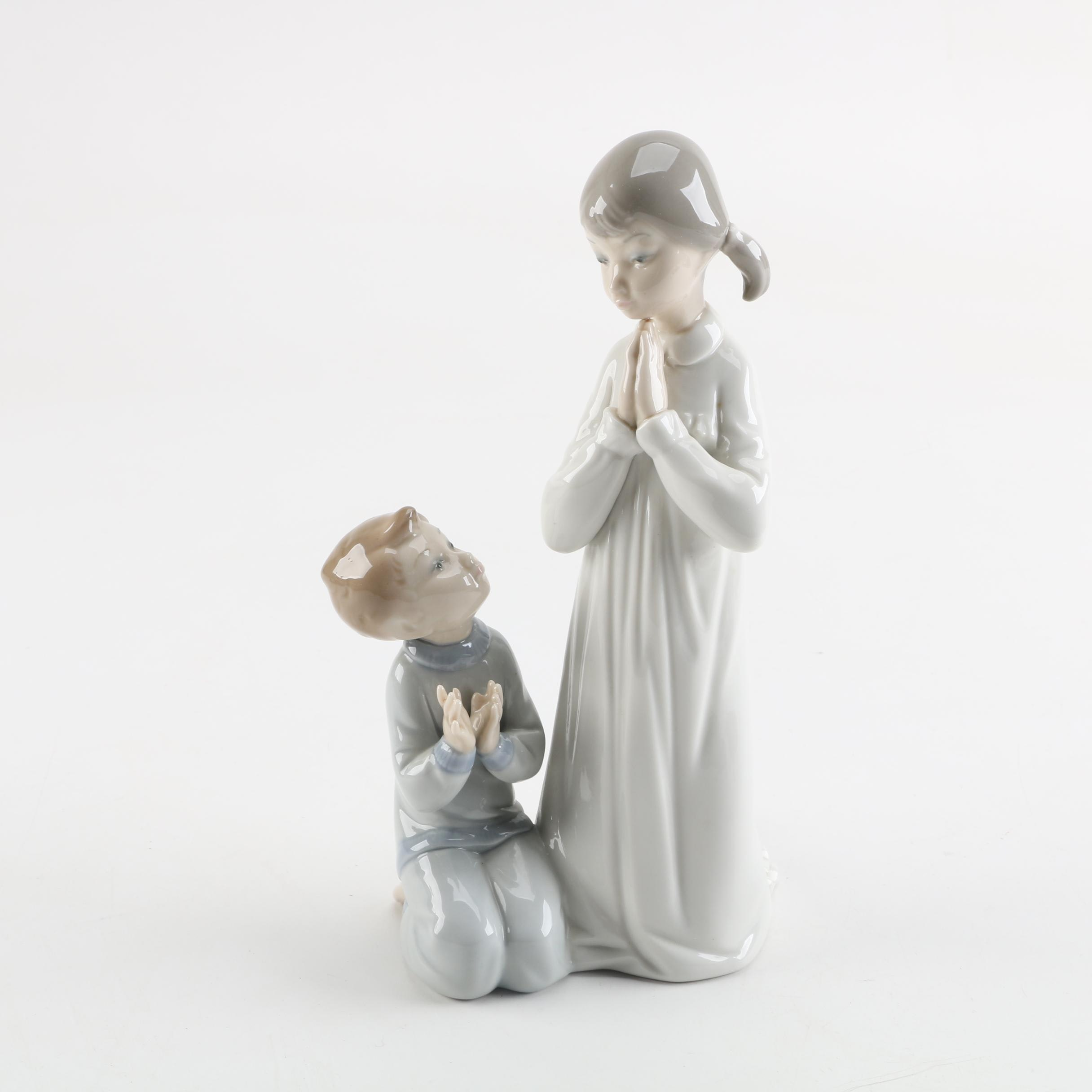 "Lladró ""Teaching To Pray"" Porcelain Figurine"