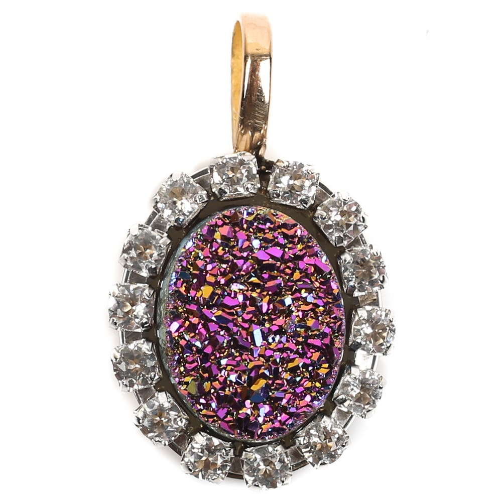 14K Yellow Gold Druzy Quartz Halo Pendant