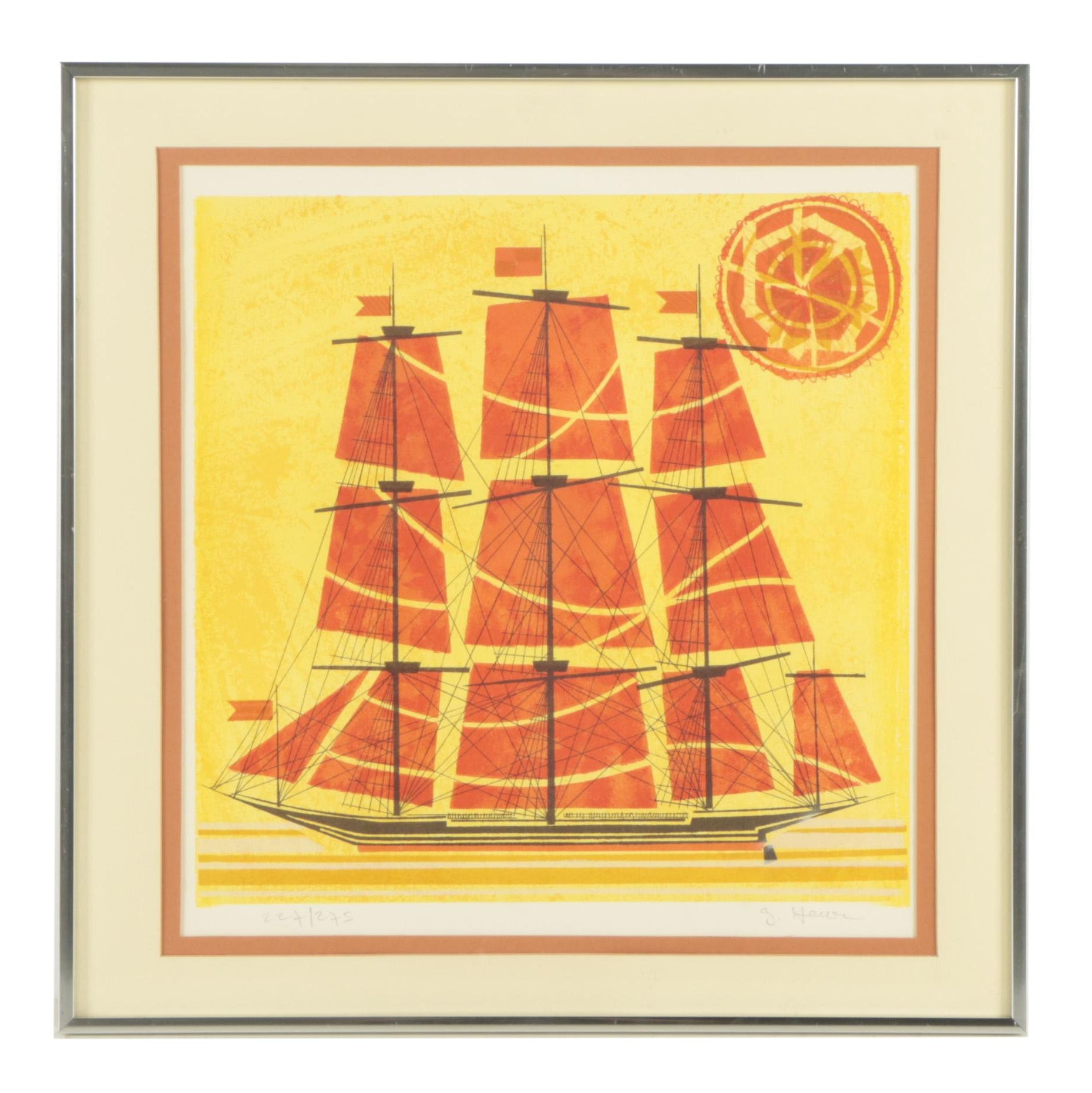 Mid Century Modern Lithograph of a Ship