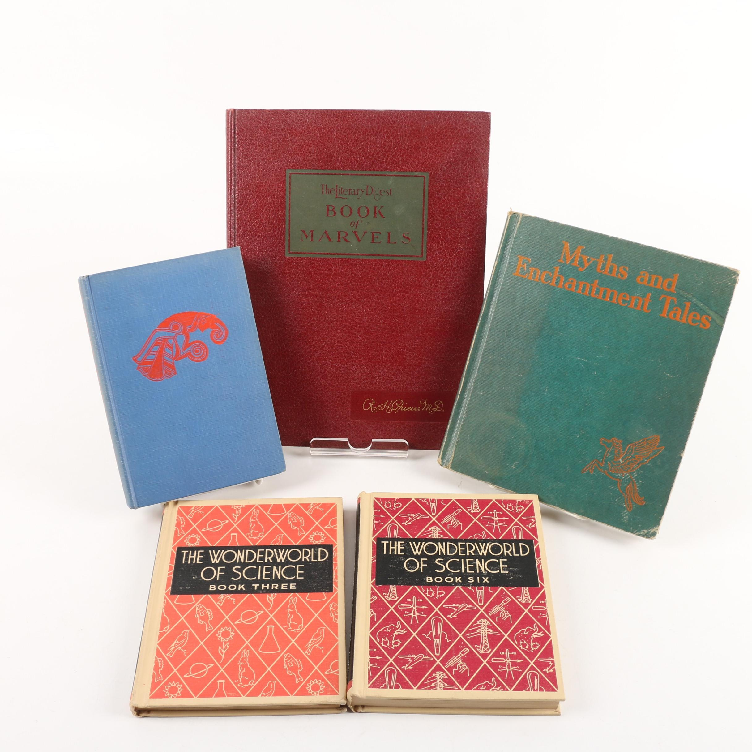"""Two """"The Wonderworld of Science"""" Volumes and Other Vintage Books"""