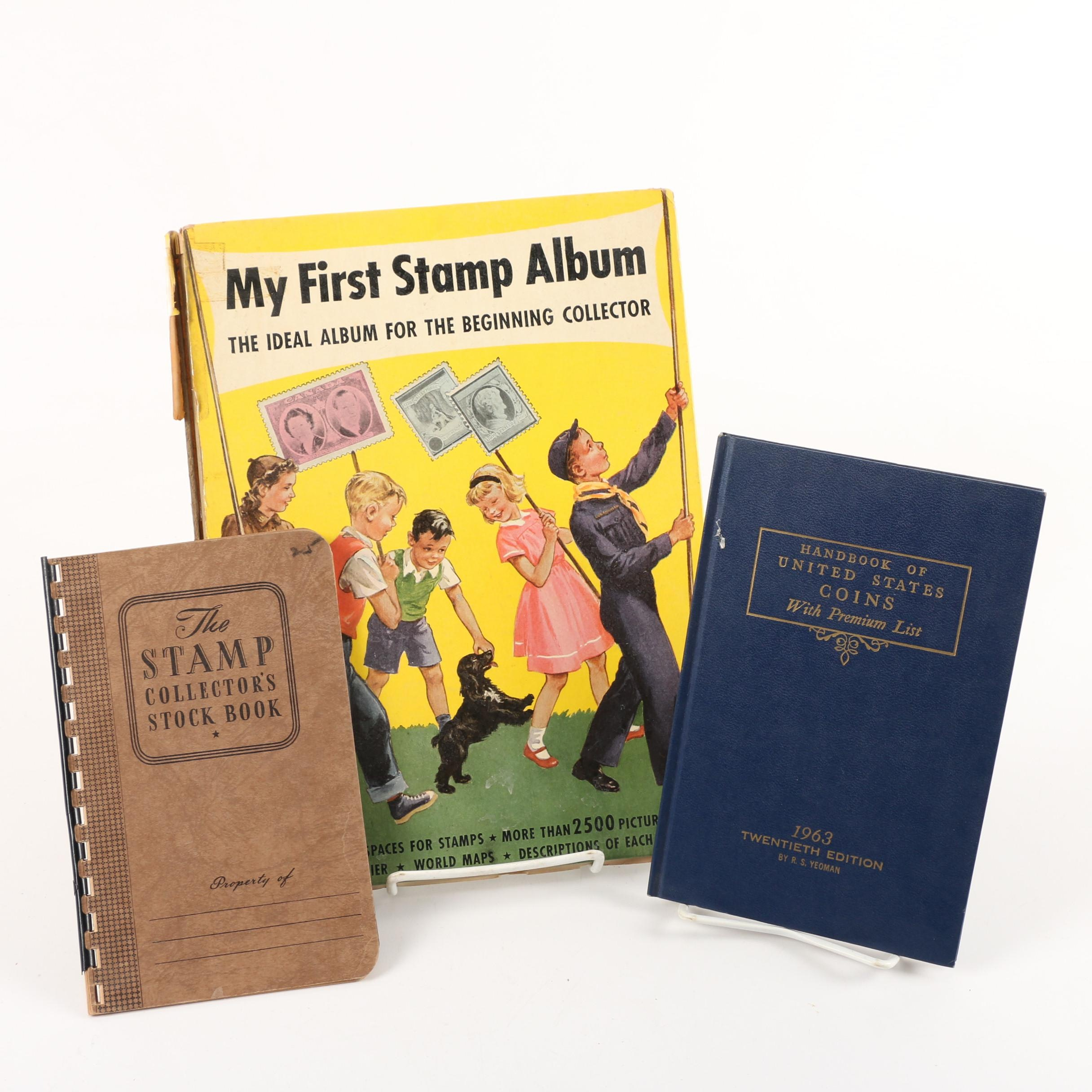 """Vintage Stamp Albums and """"Handbook of United States Coins"""""""