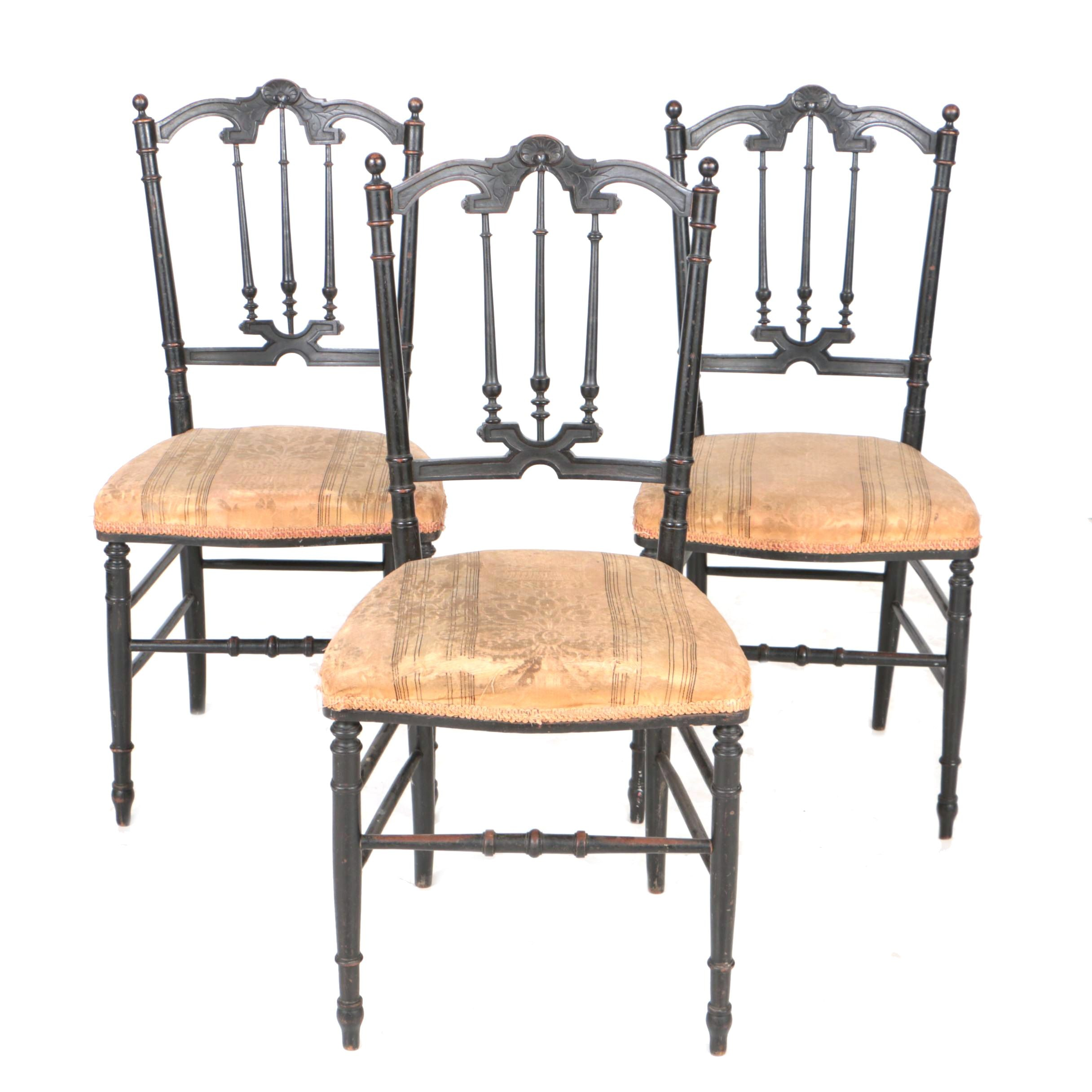 Three Antique Victorian Ebonized and Spindle-Back Parlor Chairs