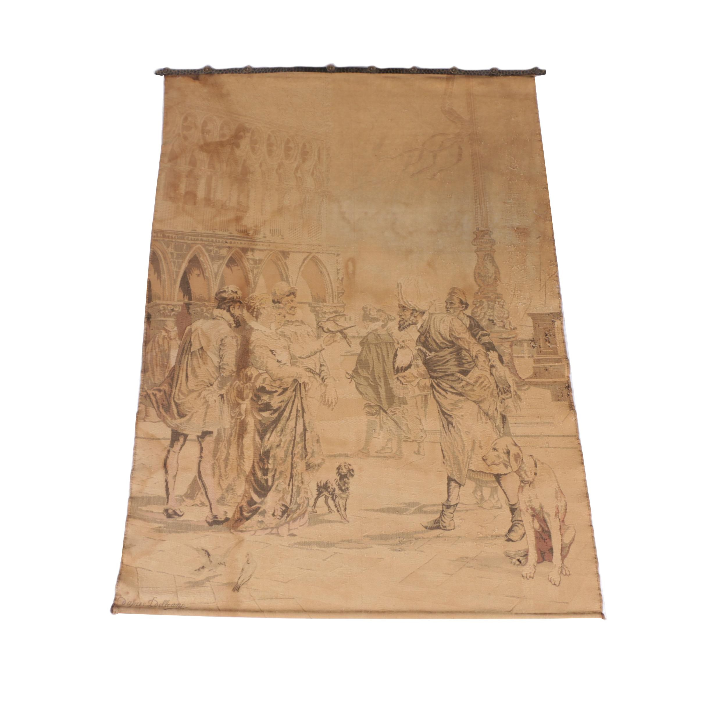 Vintage Machine-Woven Tapestry of Venetian Scene after Lorenzo Delleani