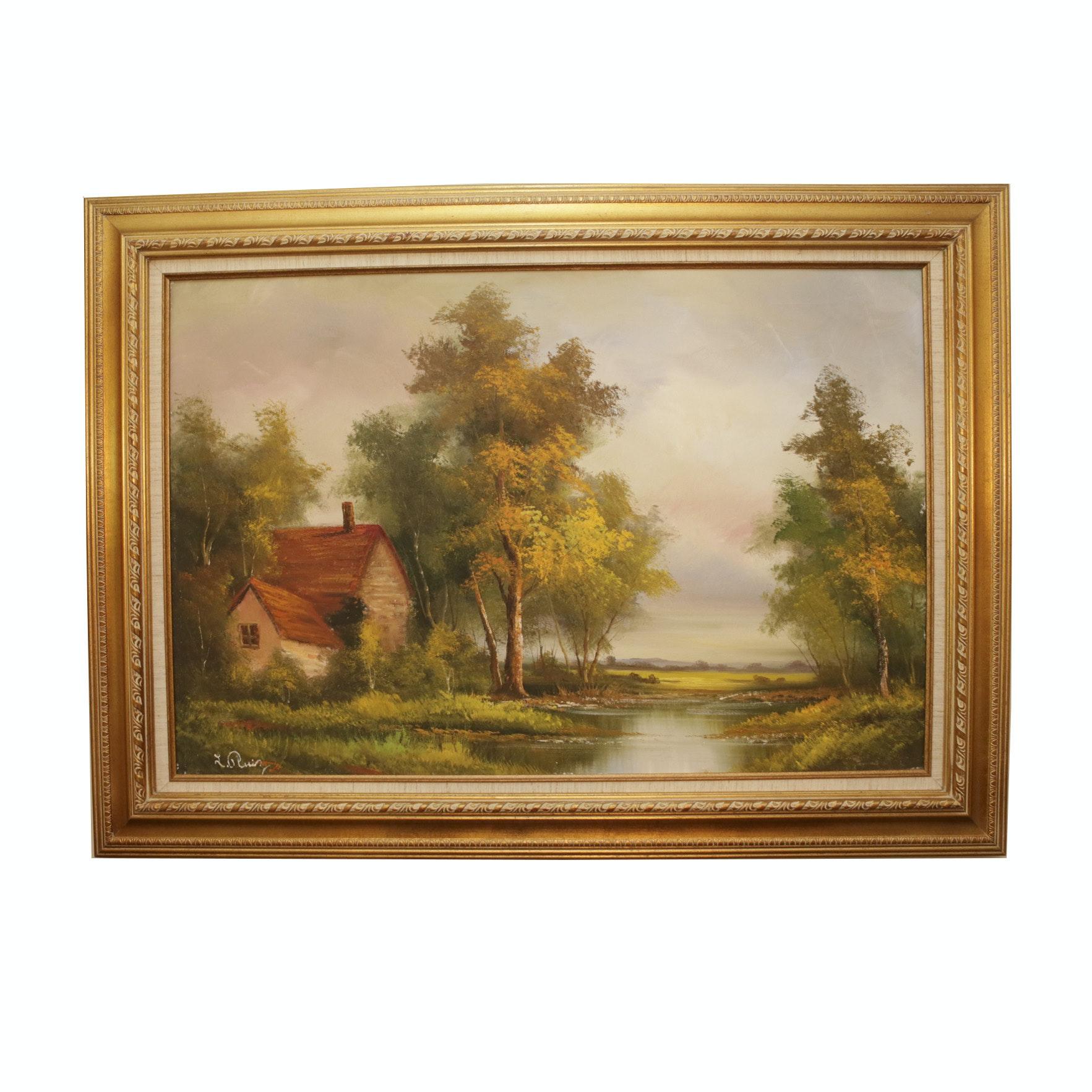 L. Ruiz Landscape Oil Painting