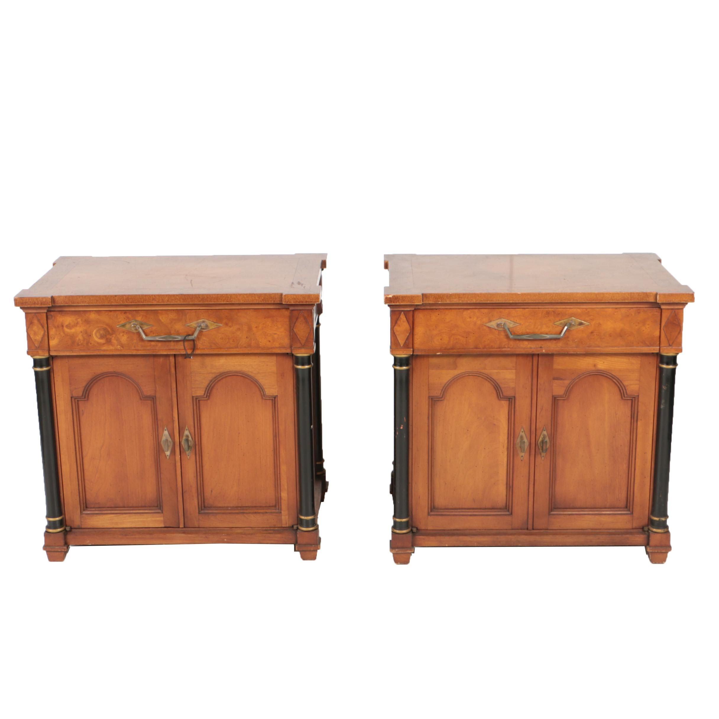 Pair of Vintage Biedermeier Style Elm Bedside Chests