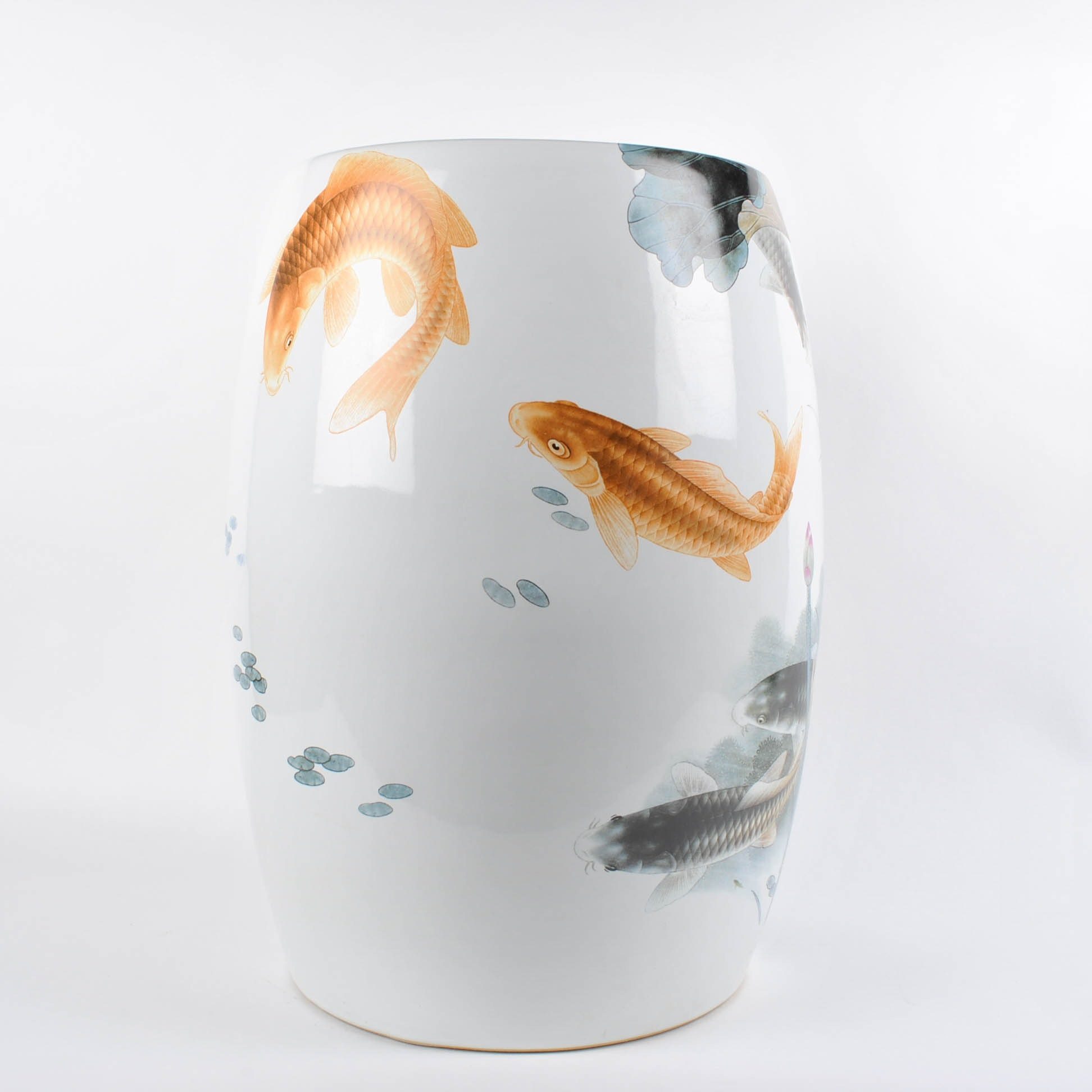 Chinese Porcelain Garden Stool with Transferred Design