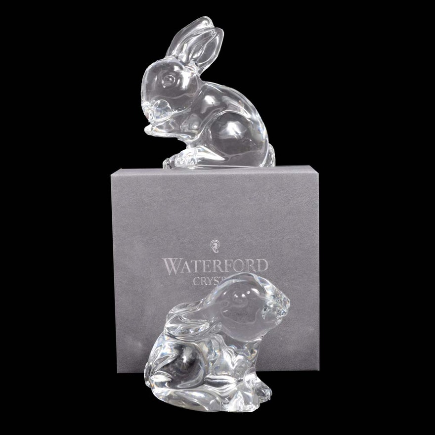 Waterford Crystal Rabbit Figurines Ebth