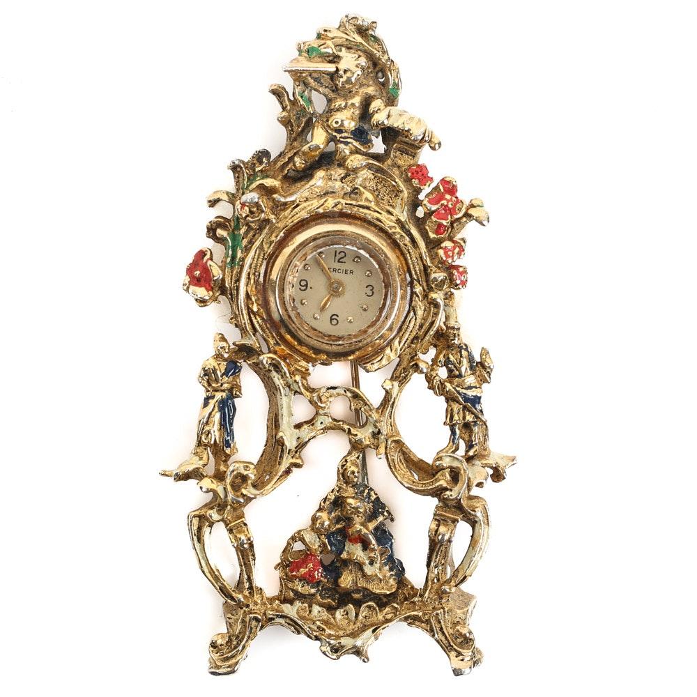 Antique Mercier 14K Gold and Gold Wash Pendant Brooch Time Piece