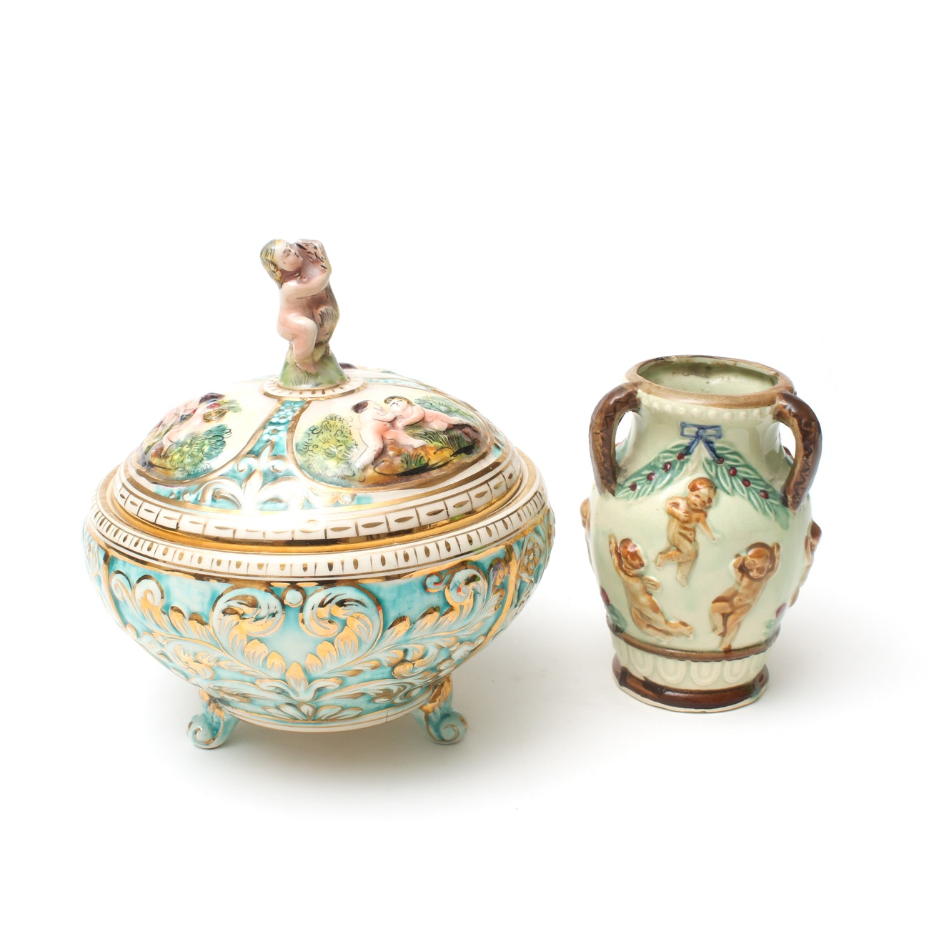 Italian and Japanese Hand-Painted Figural Vessels