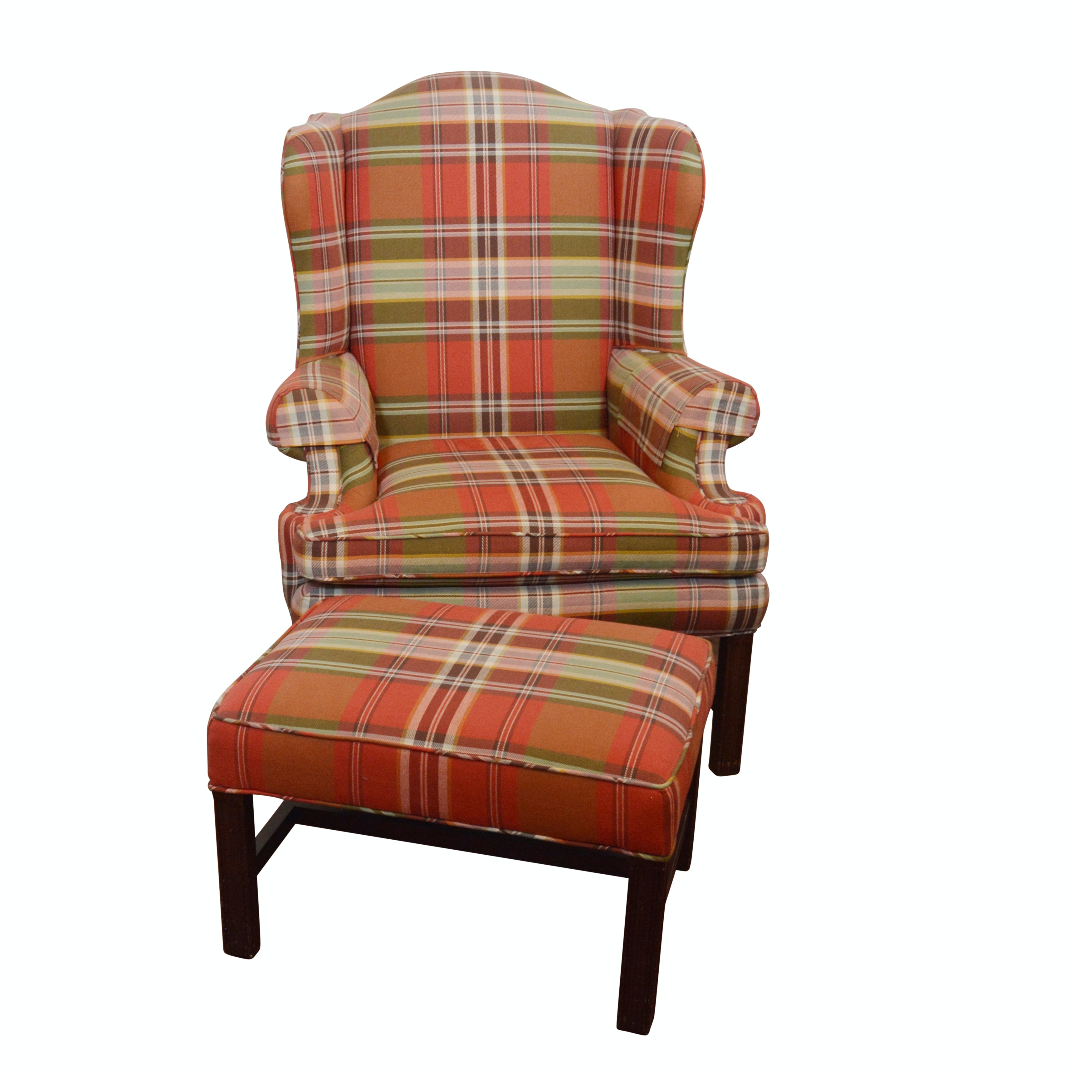 Plaid Upholstered Wingback Chair and Ottoman