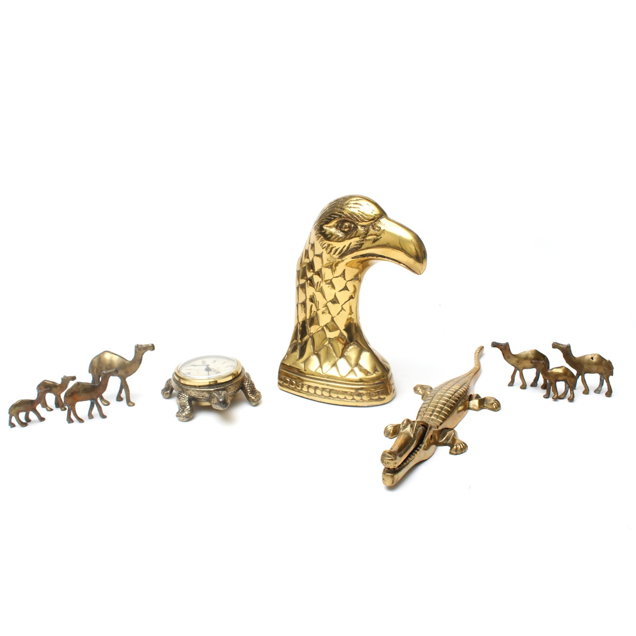 Selection of Brass Animals with West German Table Clock and Nutcracker