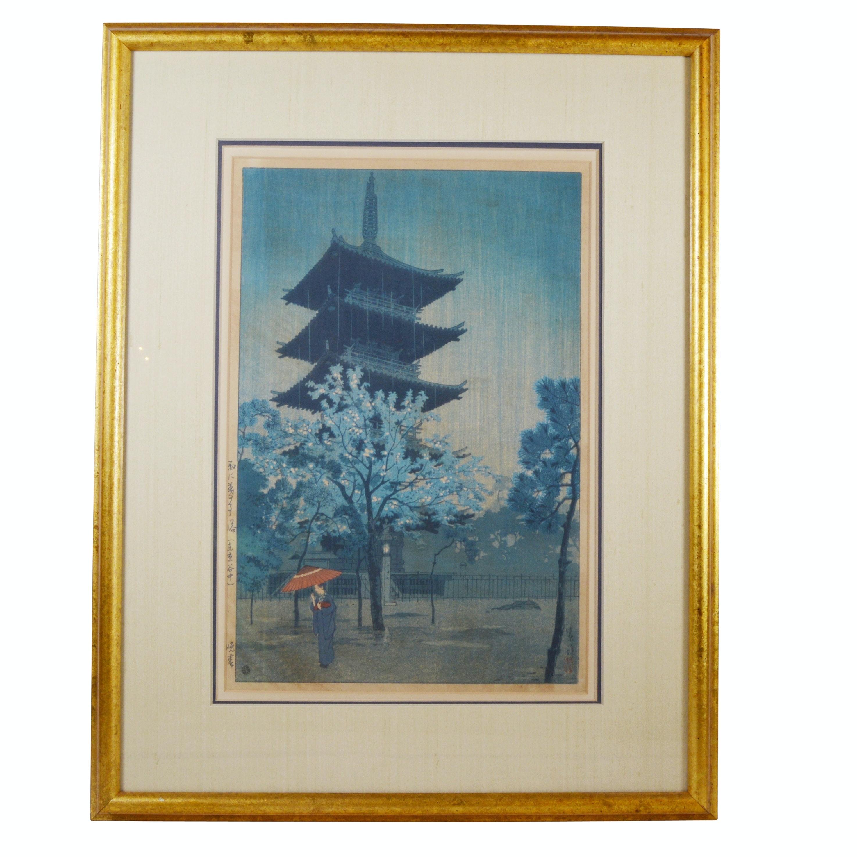 """Kasamatsu Shirō """"Pagoda in Evening Rain (Yanaka, Tokyo)"""" Woodblock"""