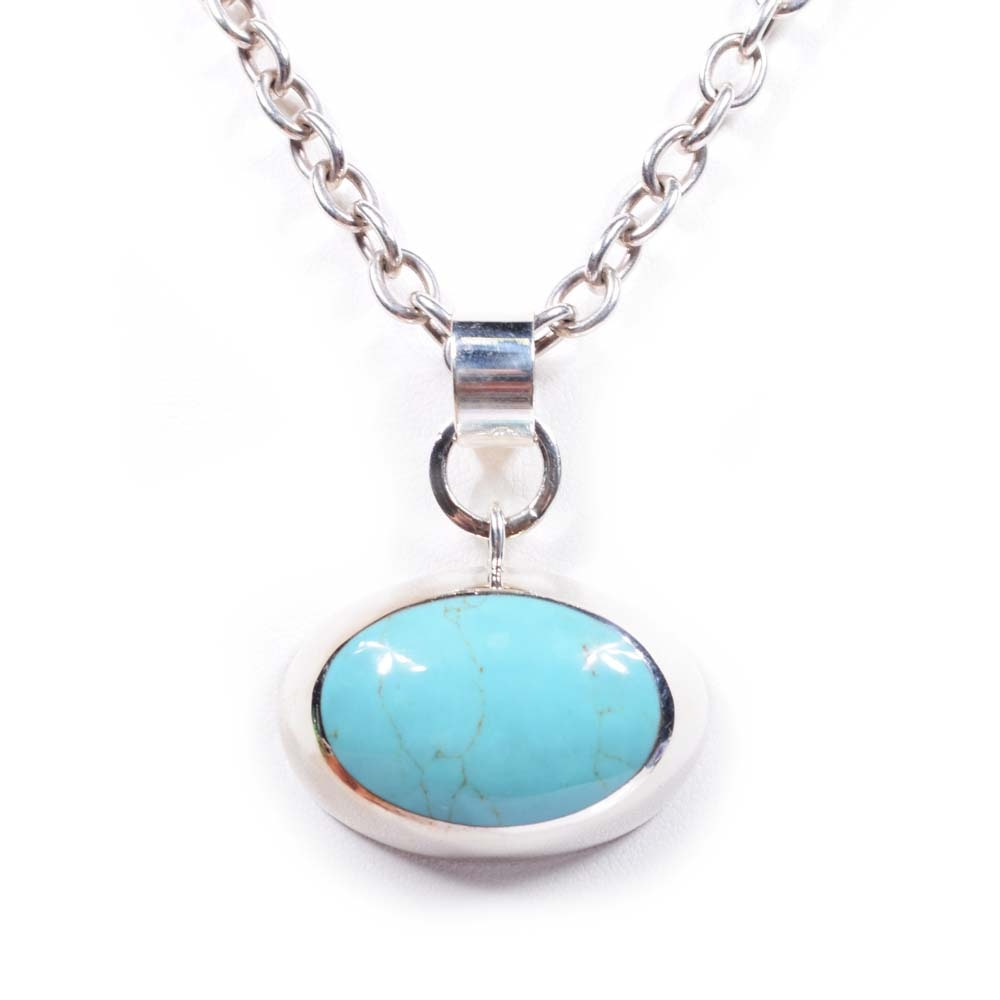 Sterling Silver Bezel Set Turquoise Pendant Princess Necklace