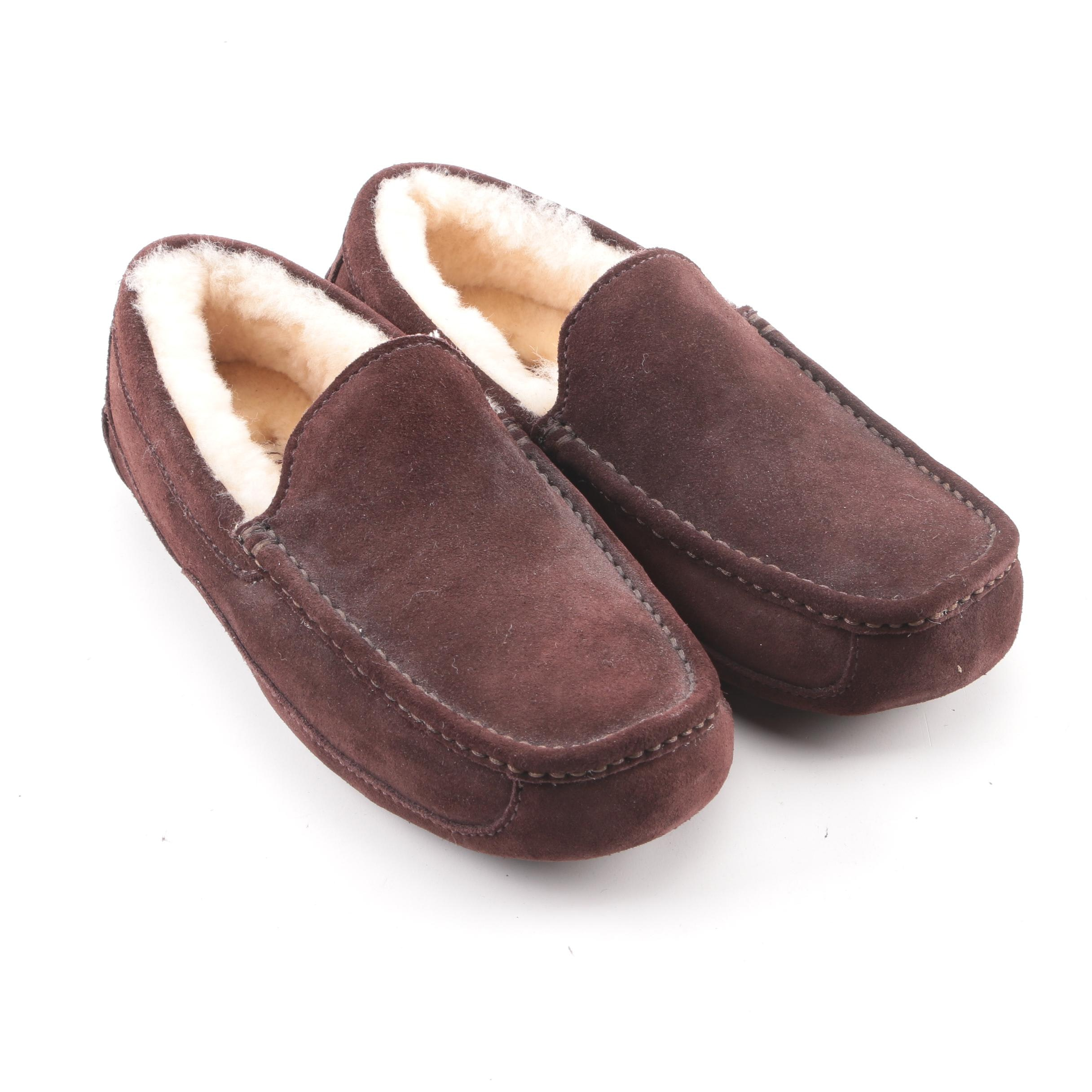 Men's UGG Brown Suede and Shearling Moccasins