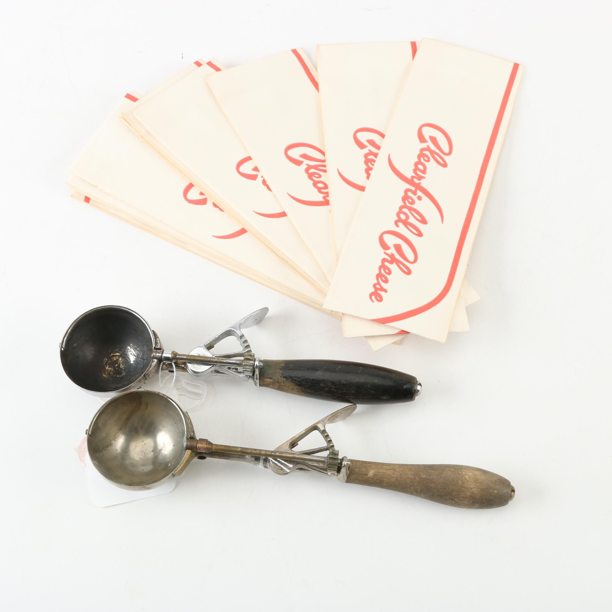Vintage Gilchrist Ice Cream Scoops and Paper Forage Hats