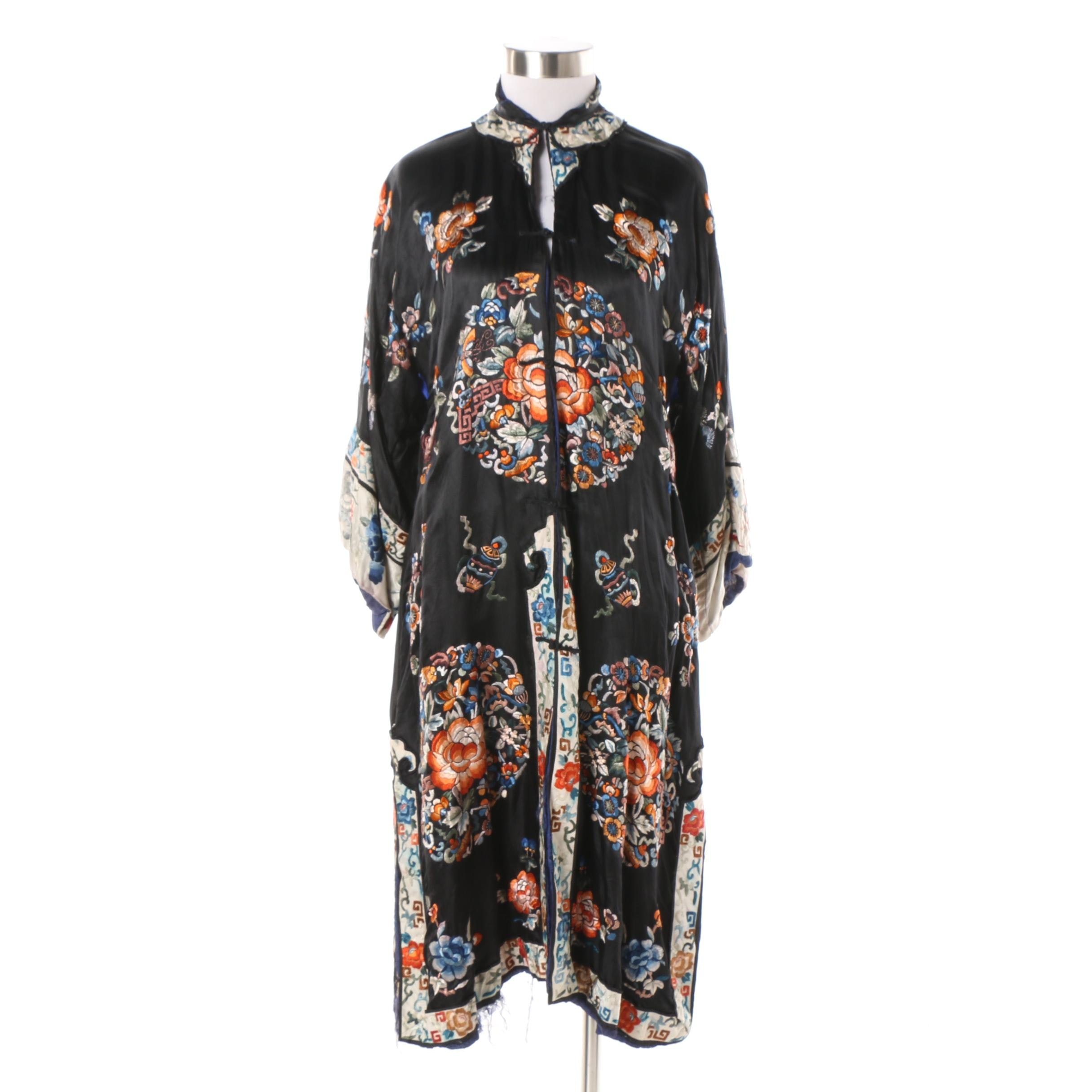 Women's Vintage Chinese Hand Embroidered Black Silk Robe