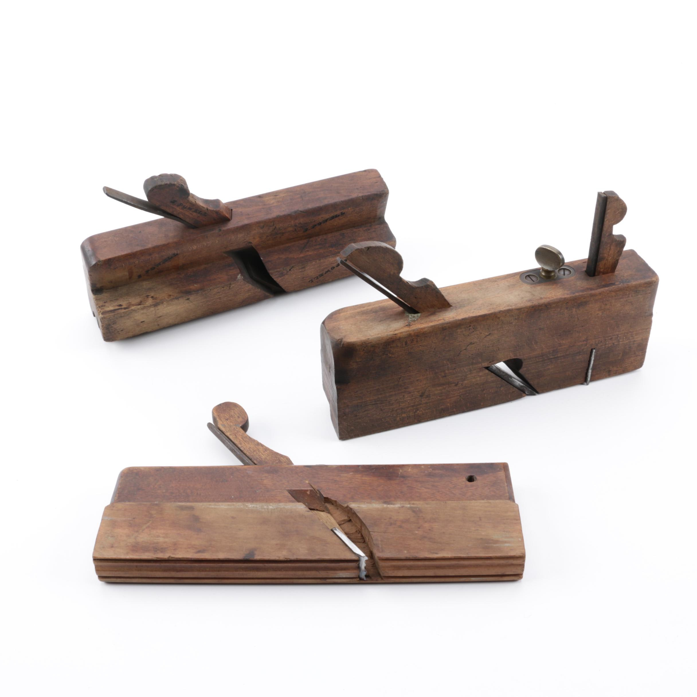 Antique American Jo Fuller, Ohio Tool, and S. Powell Molding Hand Planes