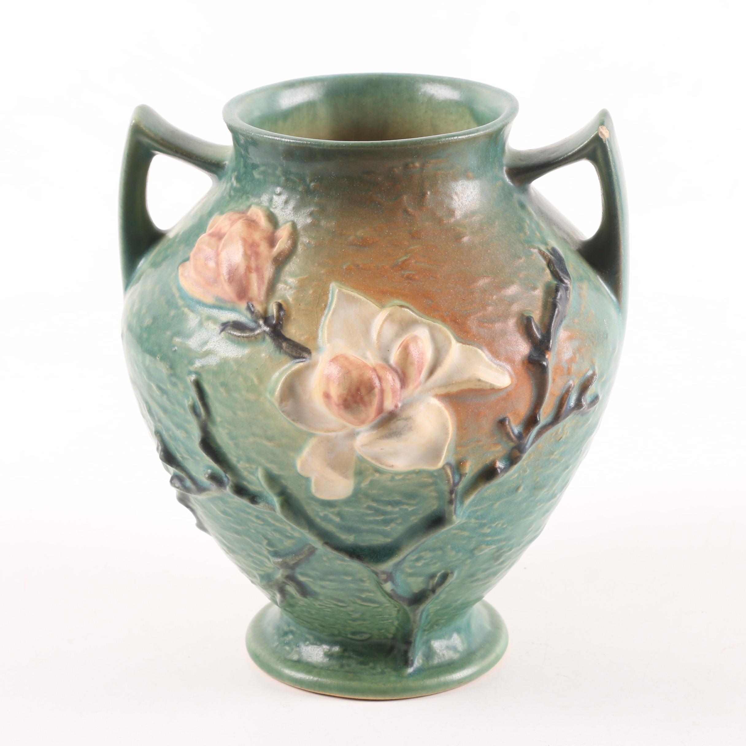 "Roseville Green ""Magnolia"" Vase"