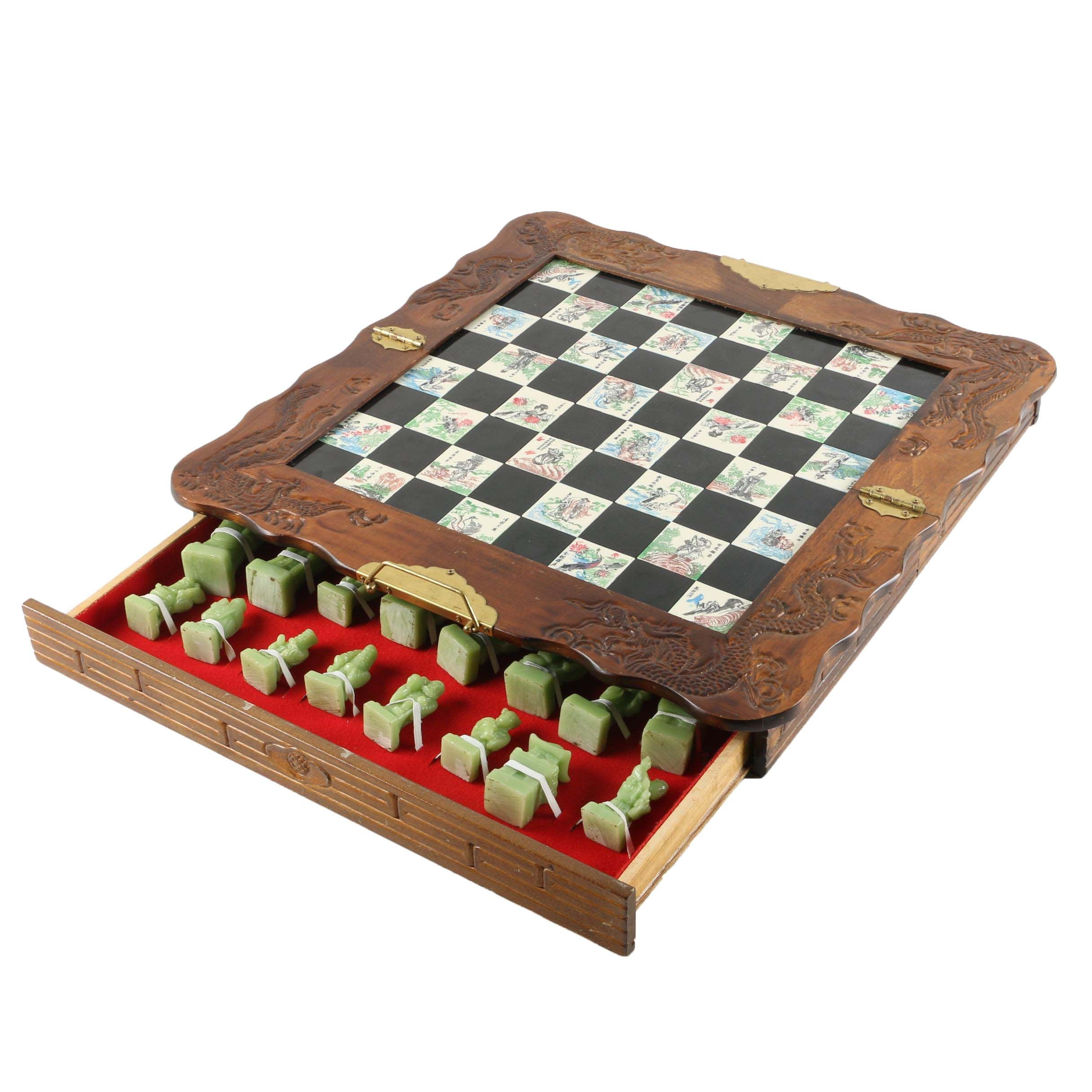 Chinese Travel Chess Set with Cast Resin Game Pieces