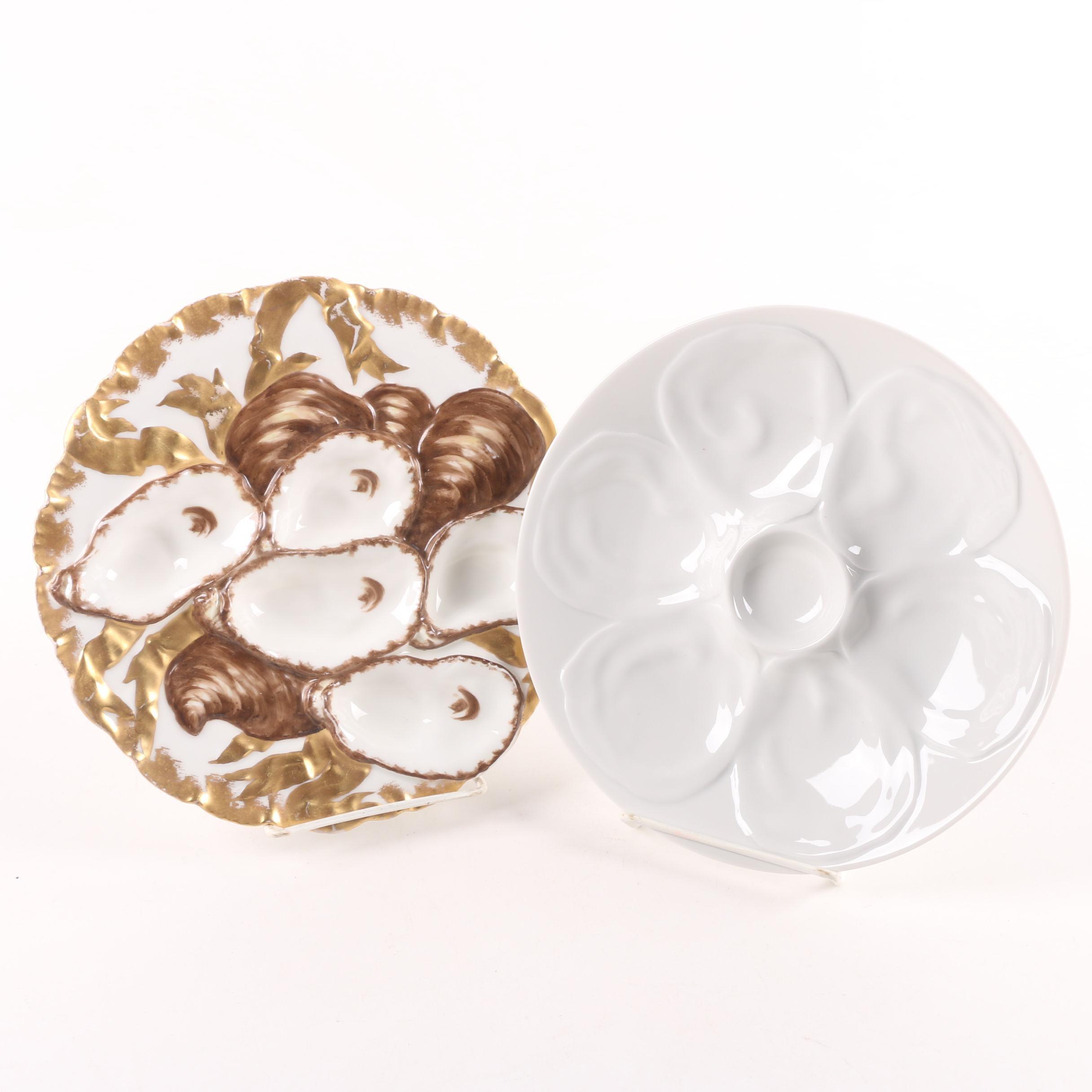 Antique Haviland and Vintage Schönwald Porcelain Oyster Plates