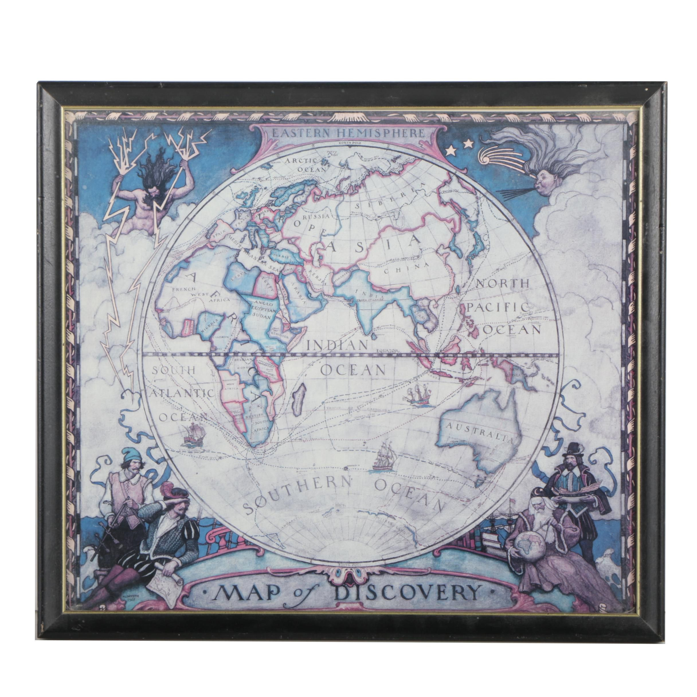 """Offset Lithograph after N.C. Wyeth """"Eastern Hemisphere, Map of Discovery"""""""