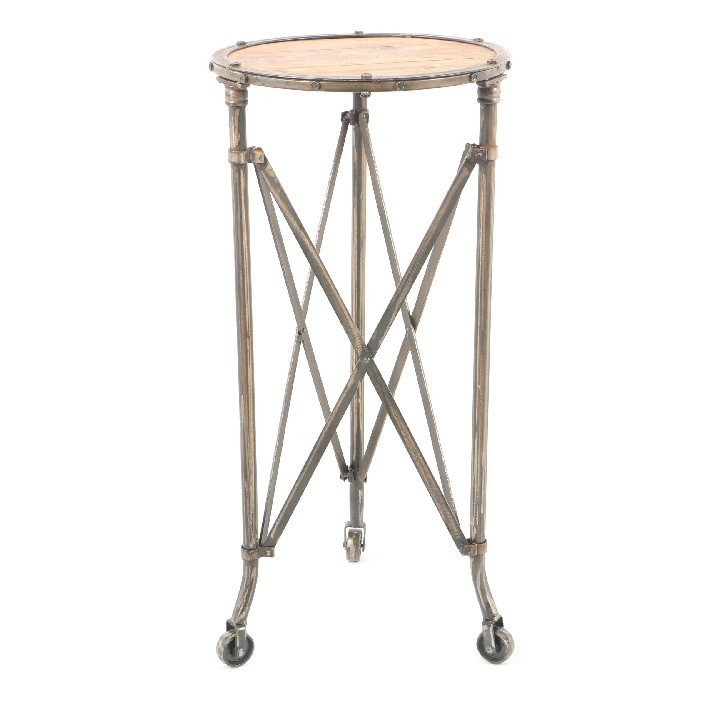 Industrial Style Wood and Metal Accent Table