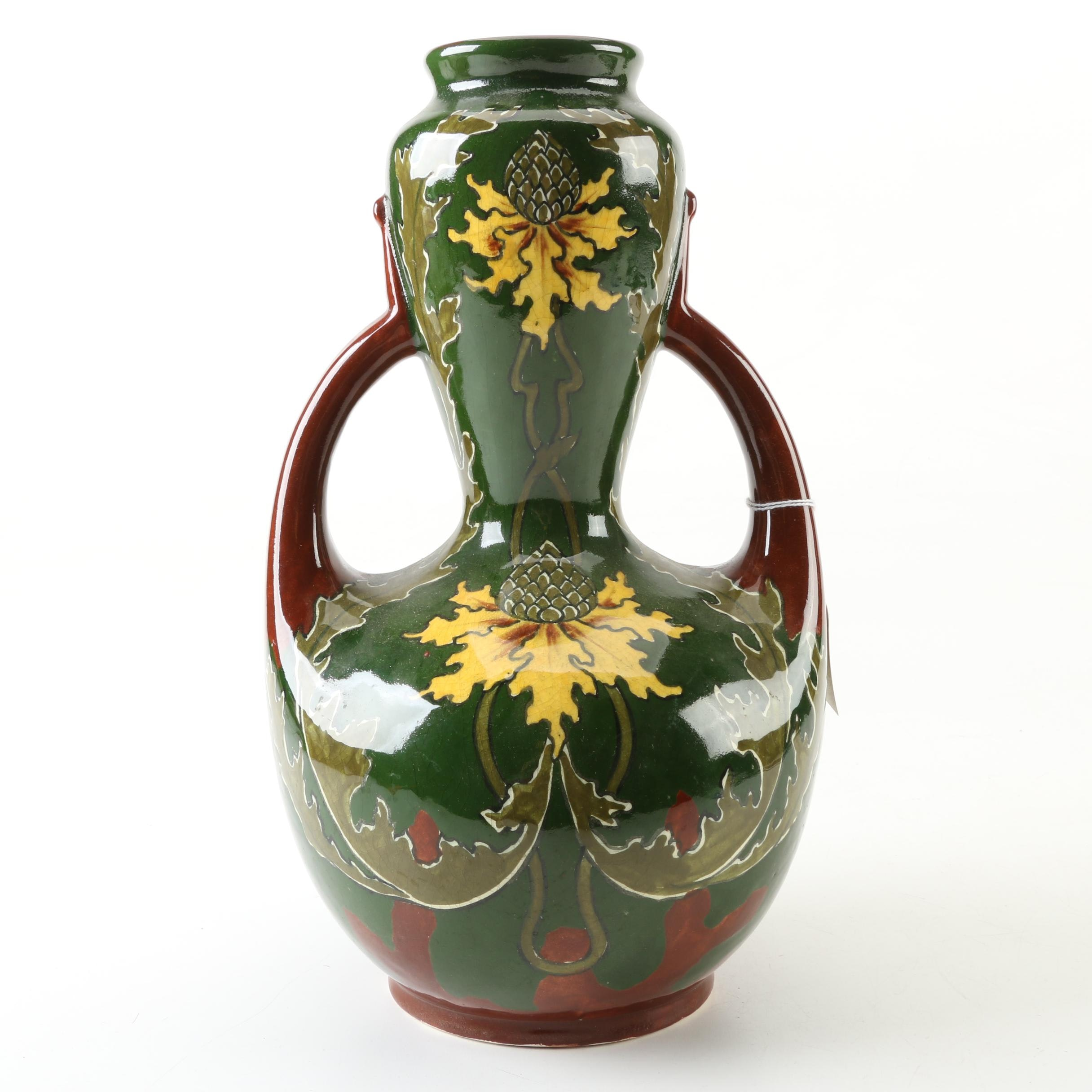 Old Moravian Pottery Arts and Crafts Hand-Painted Vase