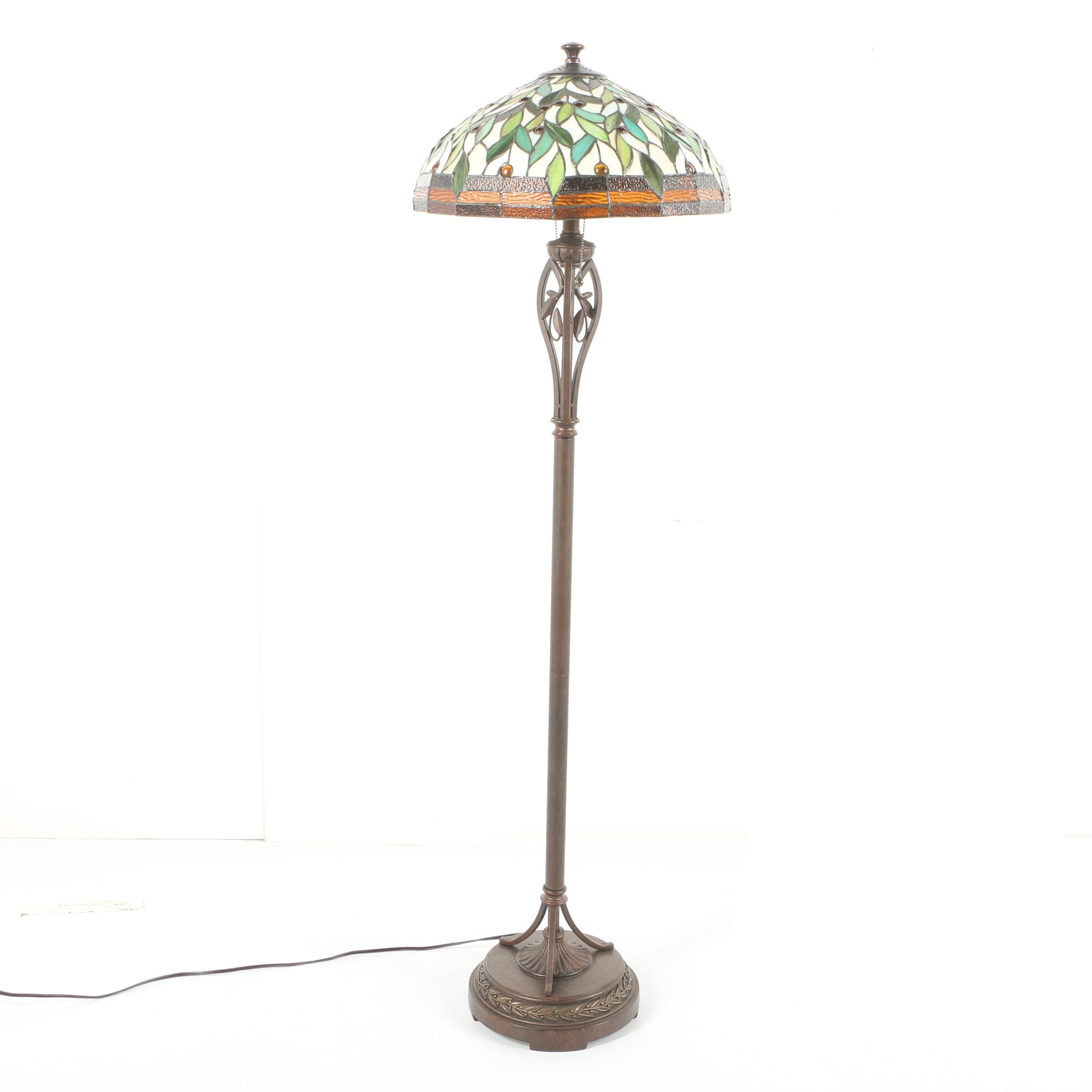 Slag and Stained Glass Floor Lamp