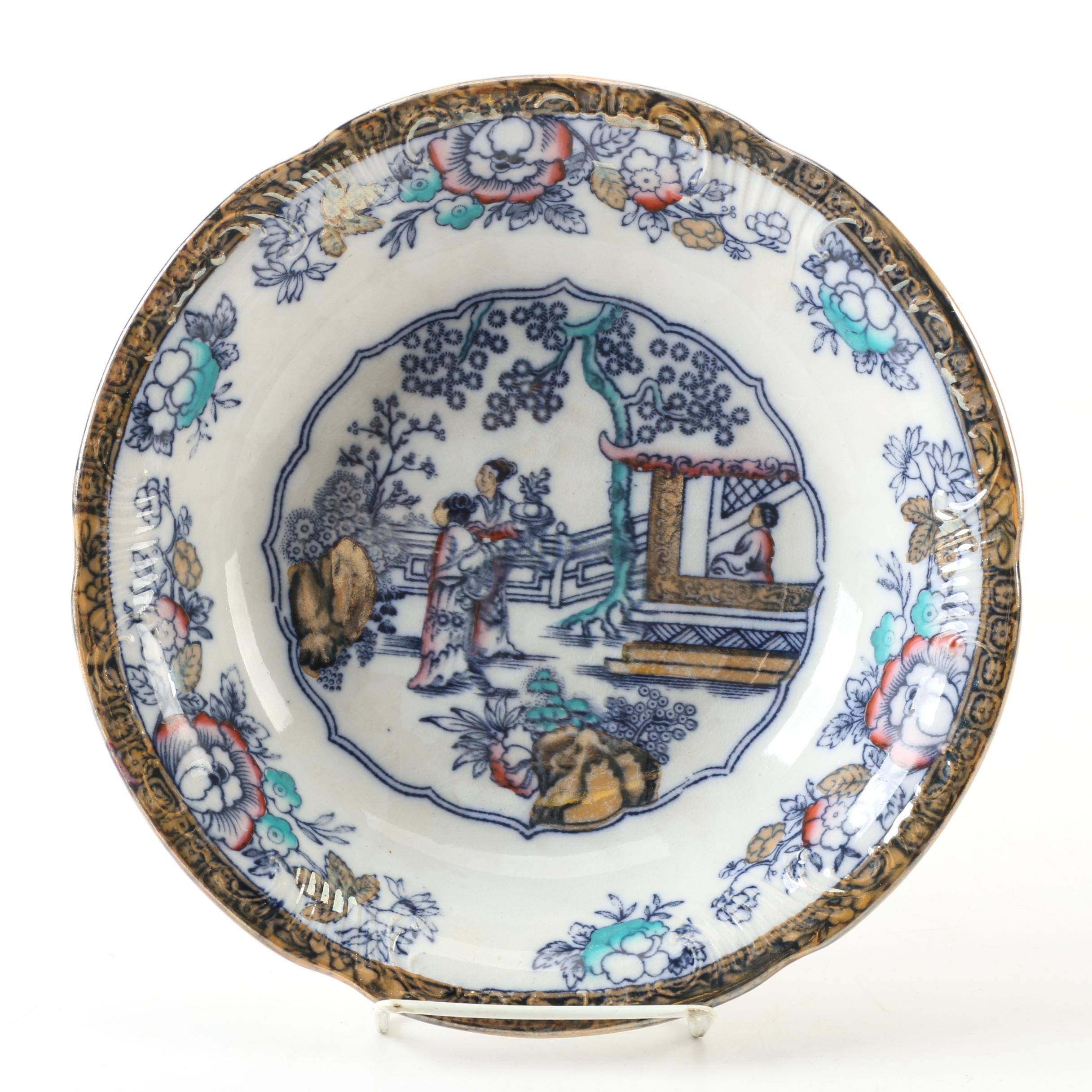 """Antique William Adams & Co. """"Chinese Ching"""" Polychrome Vegetable Bowl"""