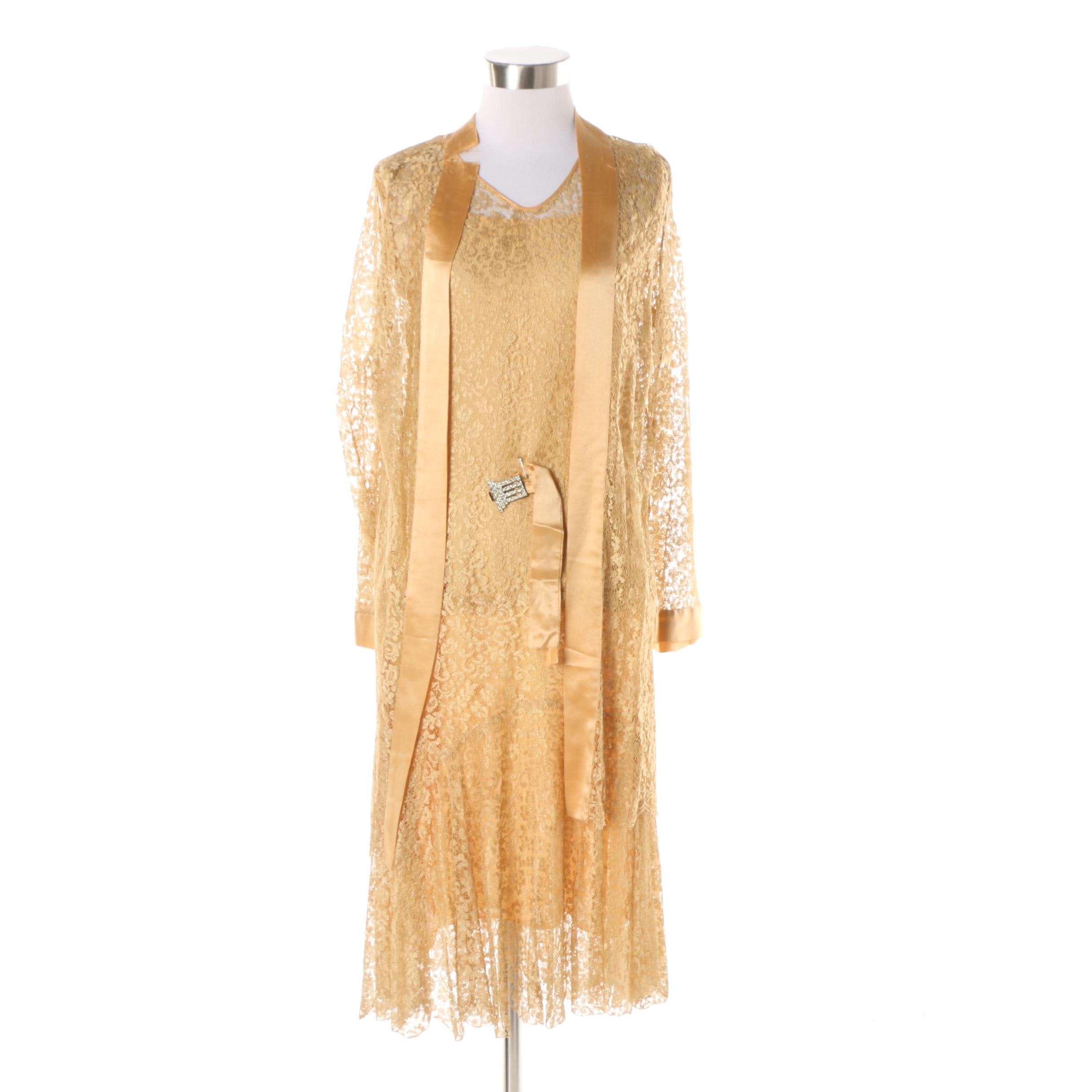 Circa 1920s Gold Lace Dress and Jacket with Art Deco Rhinestone Belt Buckle