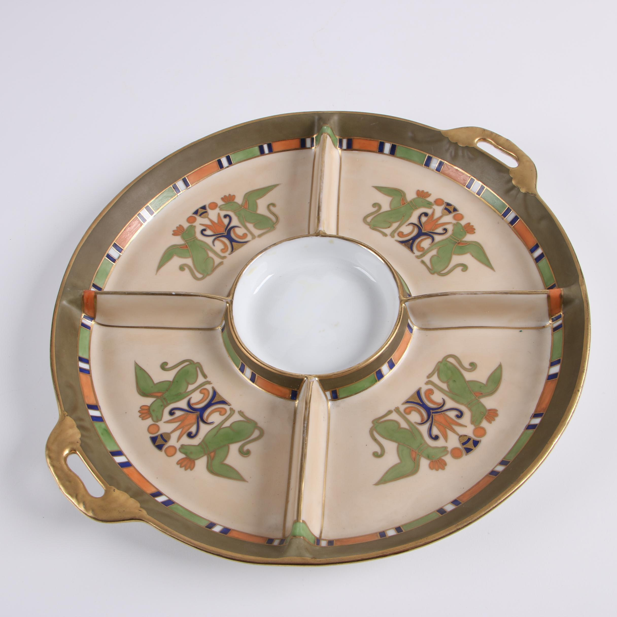 Hand-Painted Noritake Porcelain Divided Serving Dish