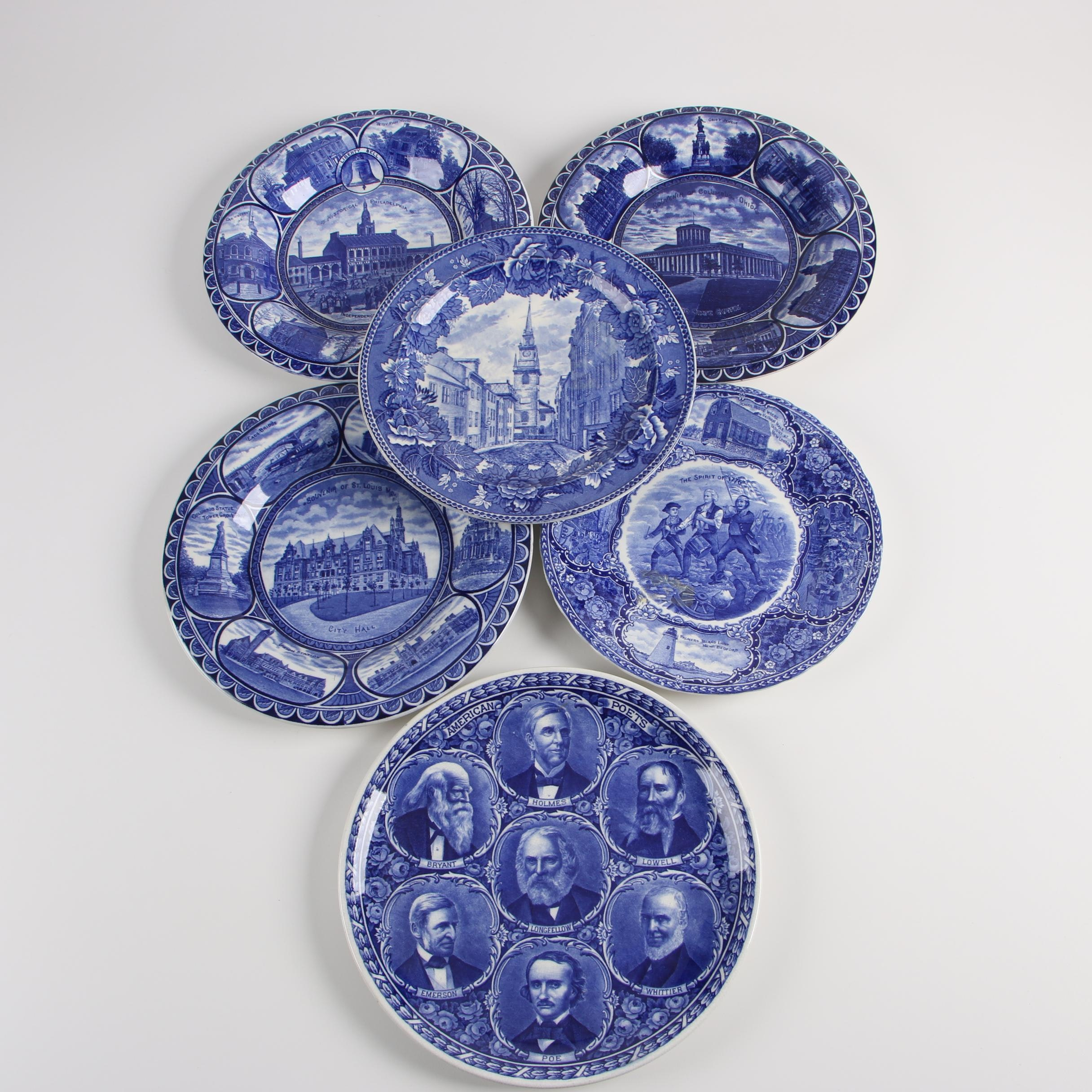 Rowland & Marsellus Historical Blue Staffordshire Transfer-Printed Plates